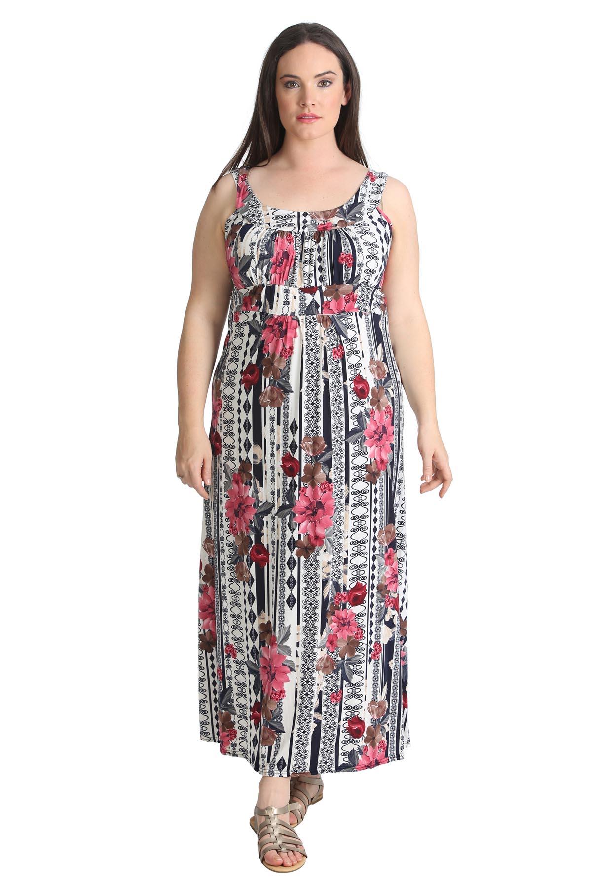 New Ladies Plus Size Maxi Dress Floral Print Womens Sale ...