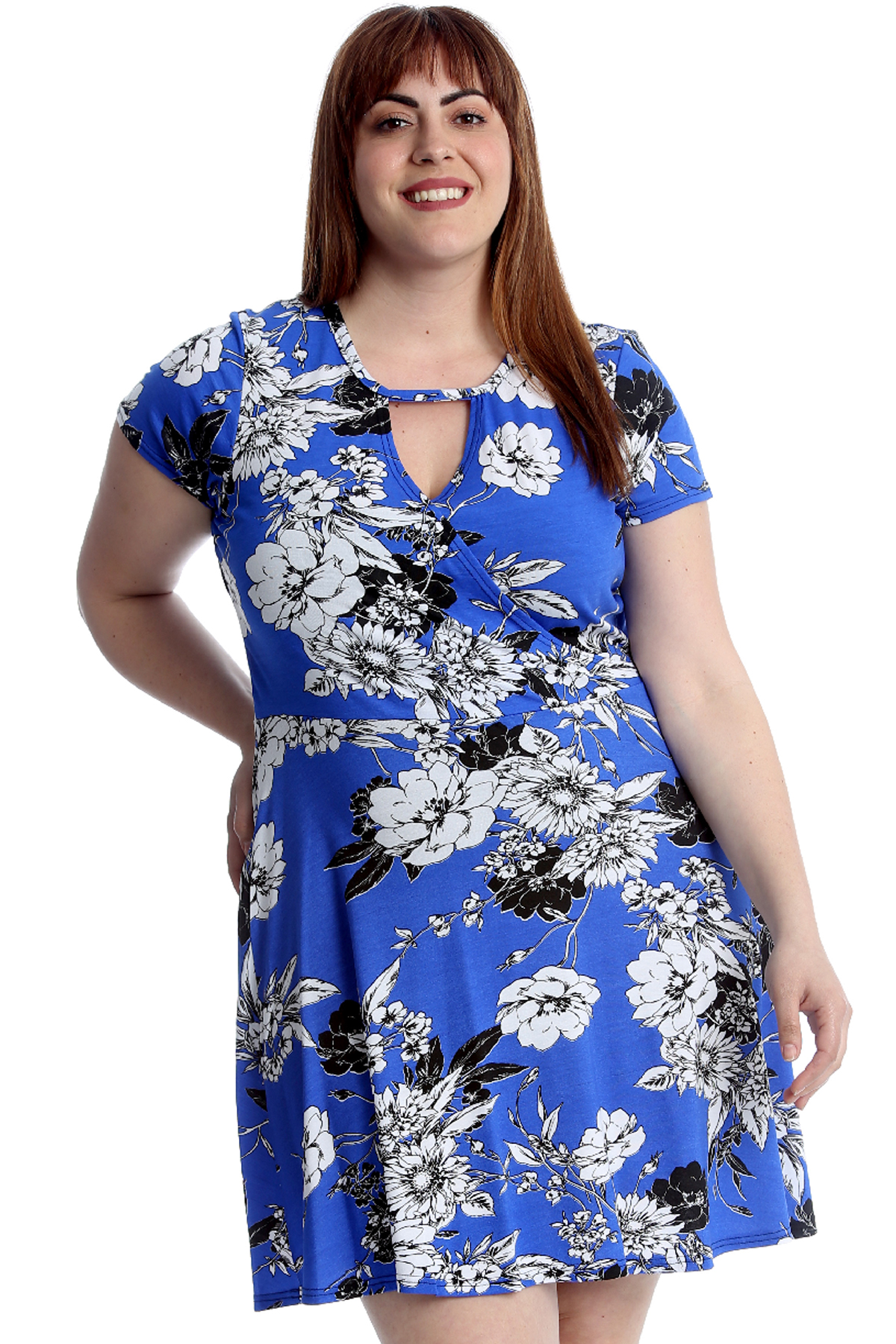 Details about New Womens Plus Size Dress Ladies Floral Crossover Tunic  Summer Midi Style Sale