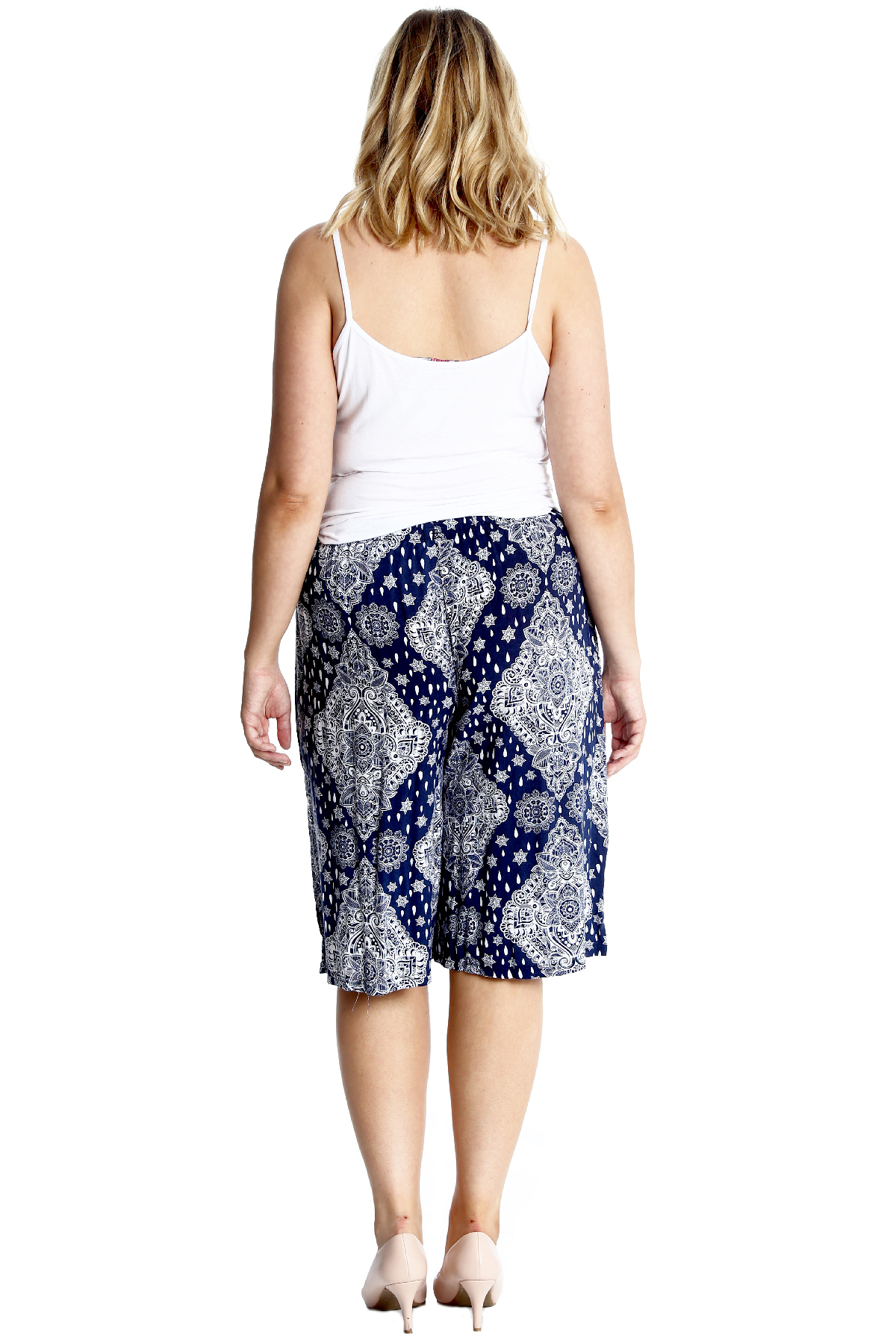 New Womens Plus Size Culottes Ladies Shorts Moroccan Tile Print Knee Length