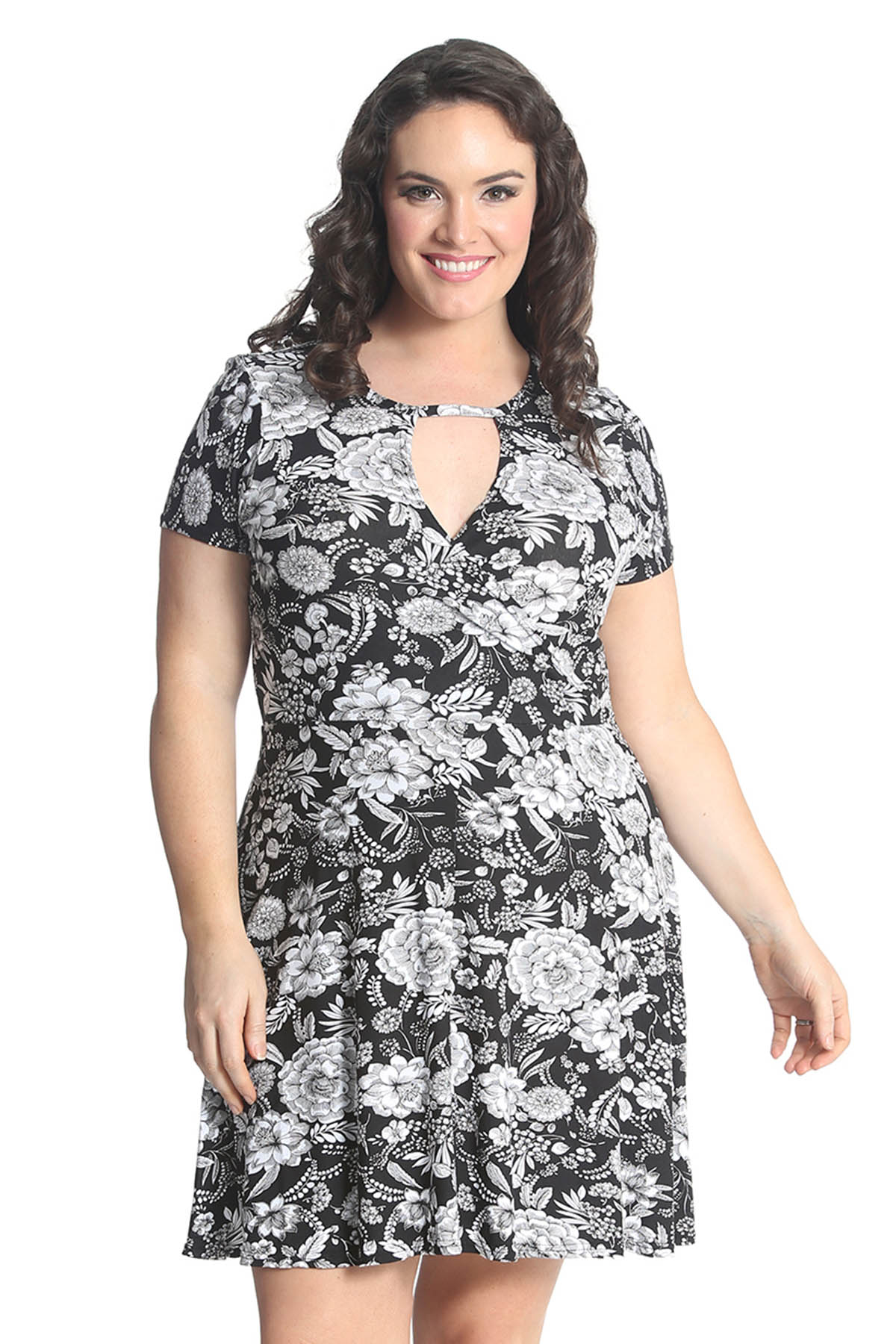 Womens Floral Plus Size Dress Ladies Crossover Skater Summer Style ...