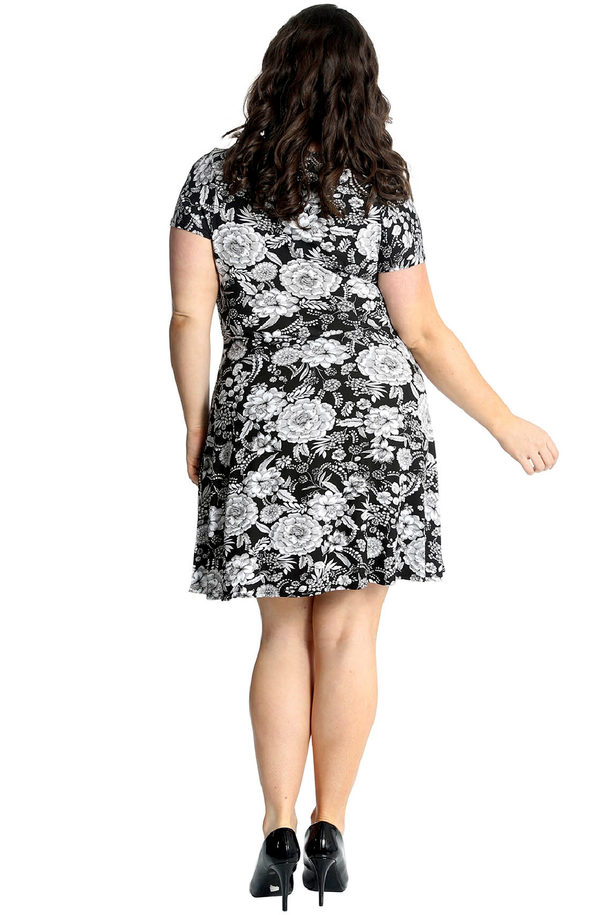 New Womens Floral Plus Size Dress Ladies Crossover Skater Style Summer Nouvelle