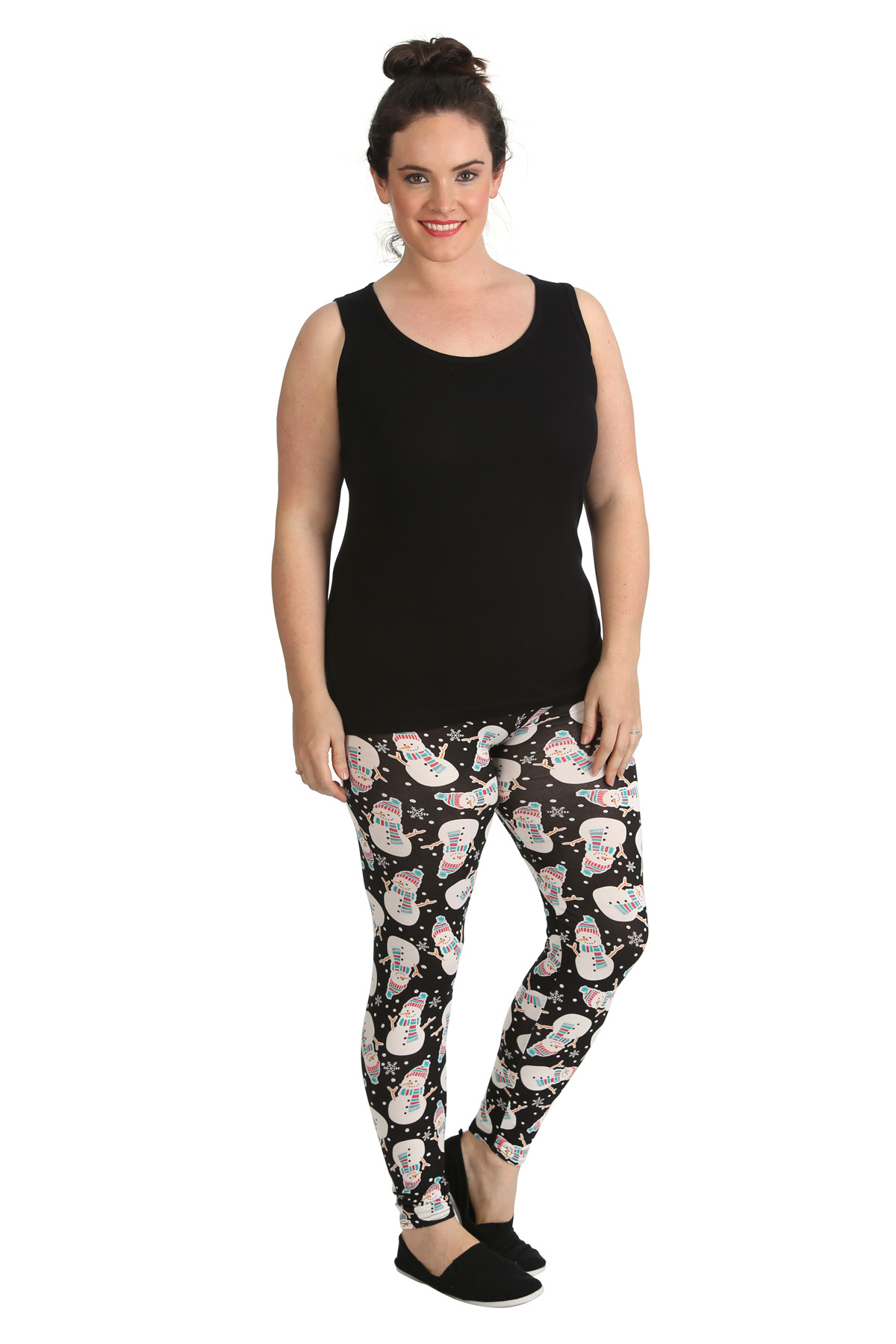 Womens Leggings Plus Size Ladies Snowman Print Christmas
