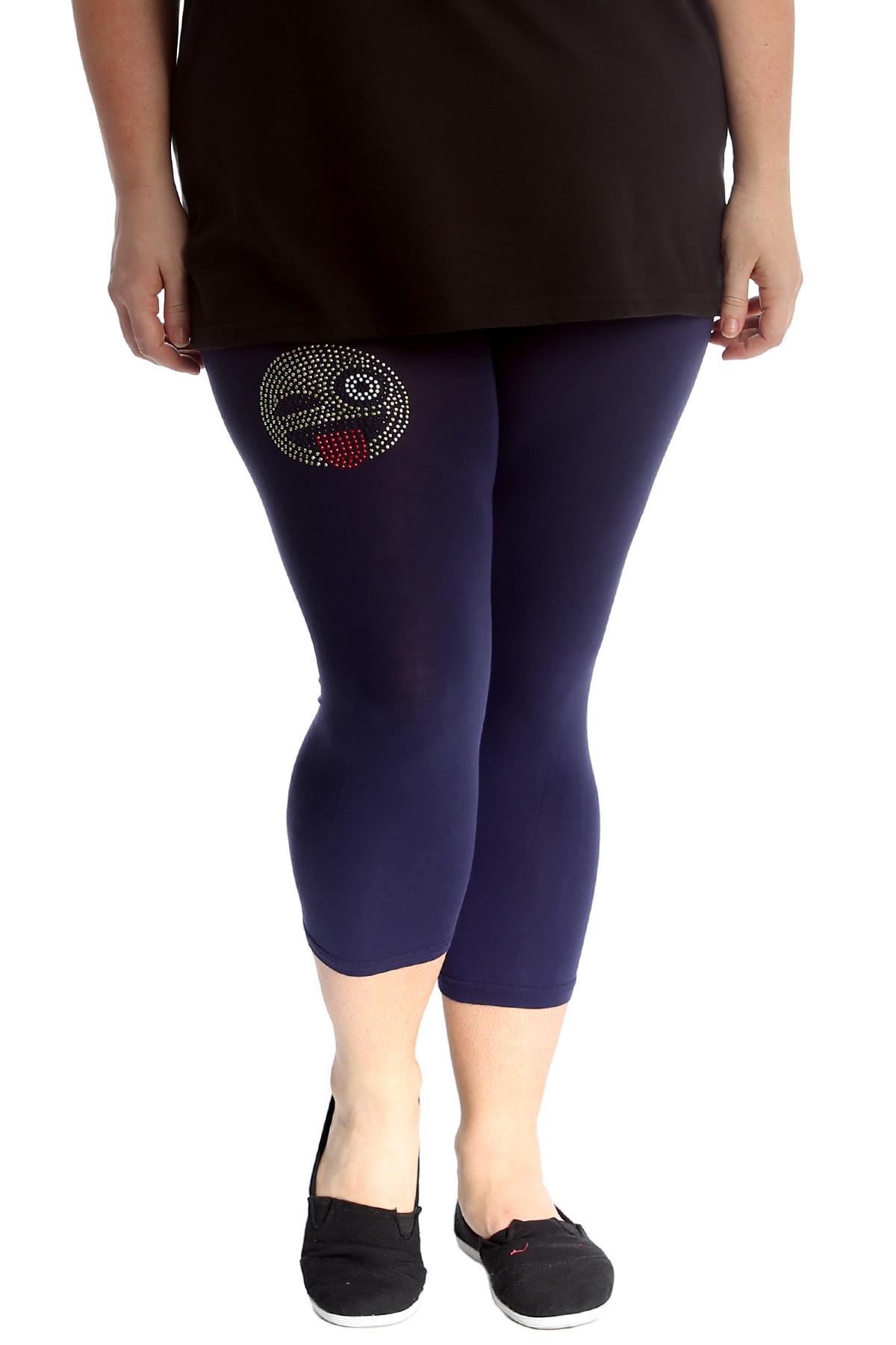Ladies Plus Size Leggings Womens Butterfly Stud Cuffs Cropped Length Nouvelle