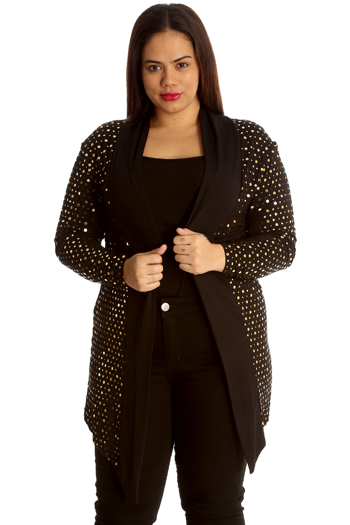 New Ladies Plus Size Cardigan Womens Polka Dot Foil Open Front ...
