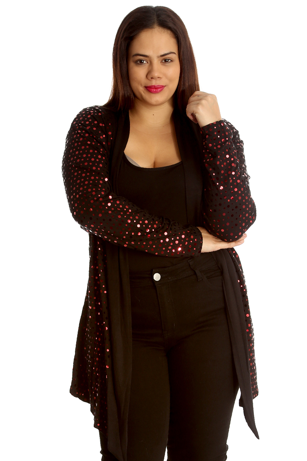 Ladies Plus Size Cardigan Womens Polka Dot Foil Open Front Jacket ...