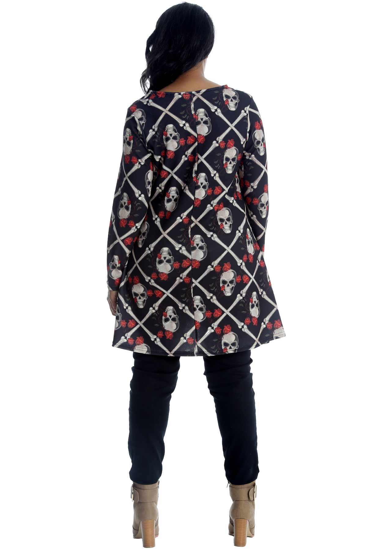 Womens Top Ladies Tunic Skull and Roses Print Tattoo Gothic Plus Size Nouvelle