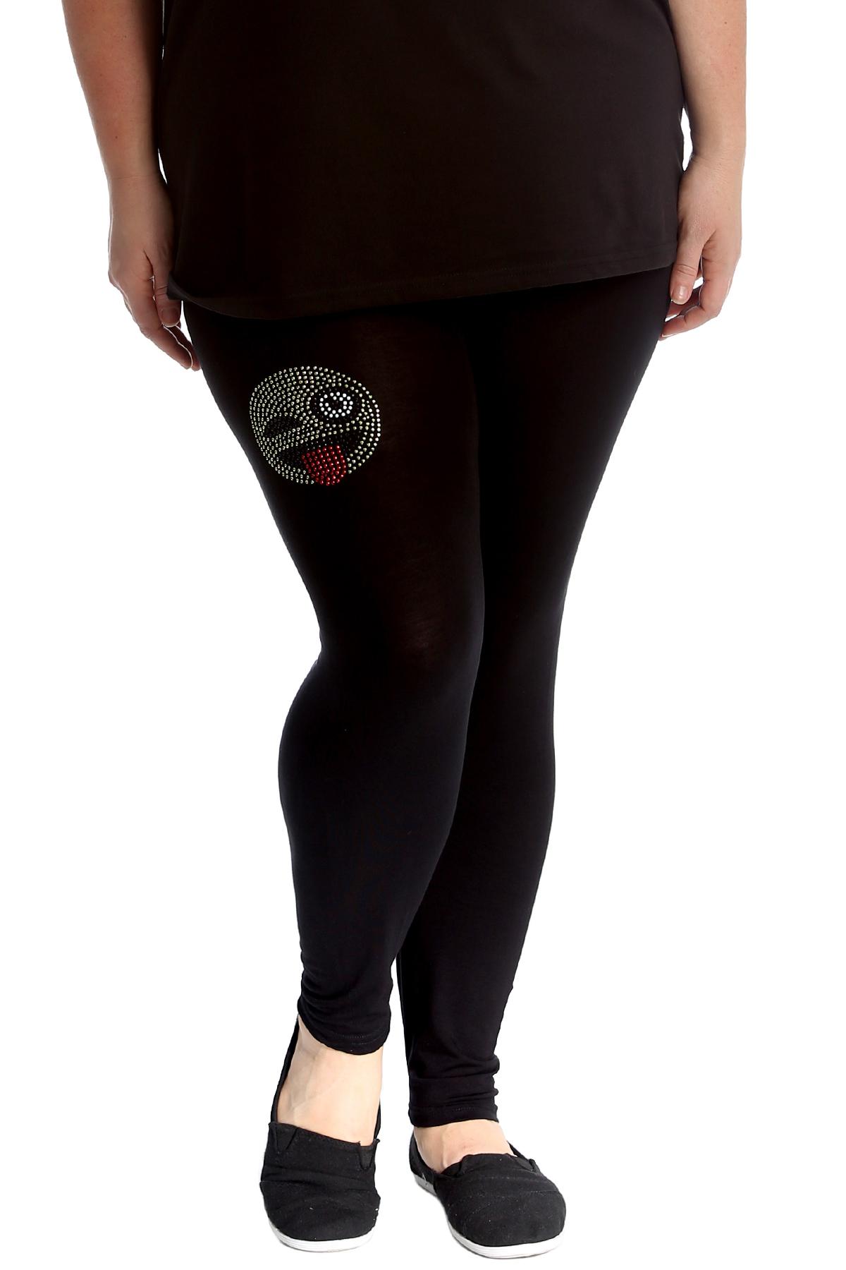 1bdc1d801e4a3a Details about New Womens Plus Size Leggings Ladies Emoji Stud Bottoms  Rhinestone Pants Elastic