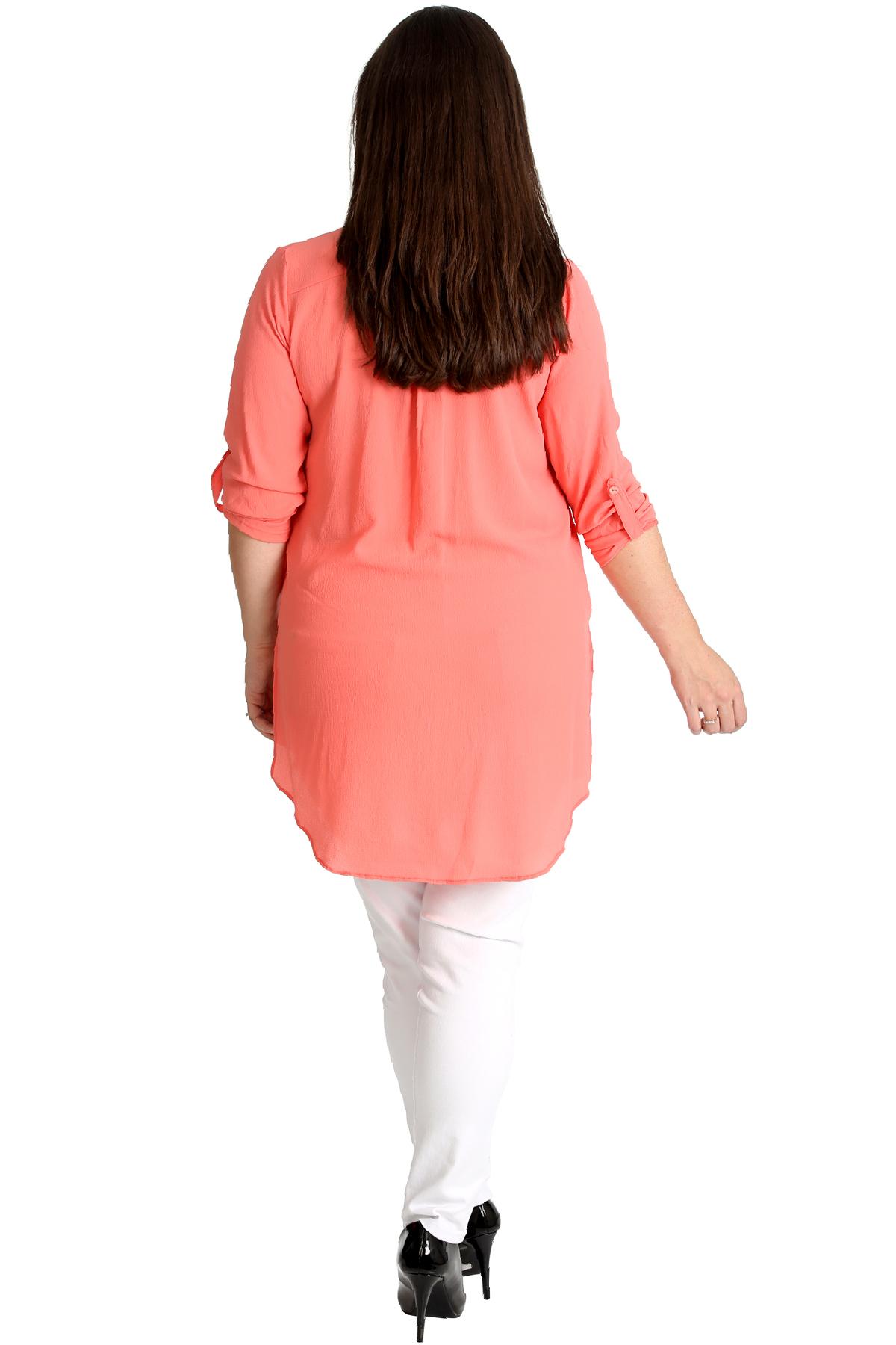 New-Womens-Shirt-Plus-Size-Ladies-Side-Slit-Plain-Top-Collar-Blouse-Long-Button