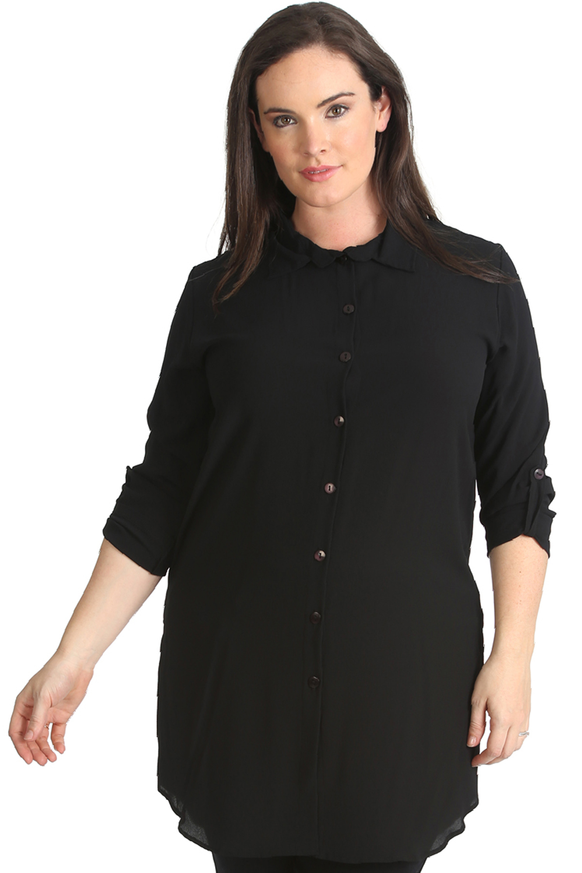 New-Womens-Shirt-Plus-Size-Ladies-Side-Slit-Plain-Top-Collar-Blouse-Long-Button
