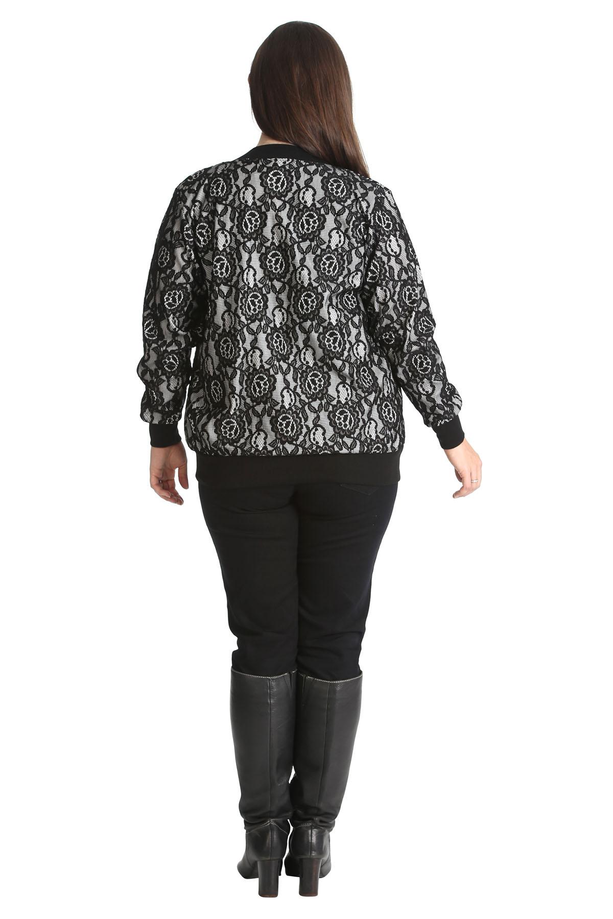 Nouvelle® Plus Size Women/'s Floral Lace Bomber Jacket