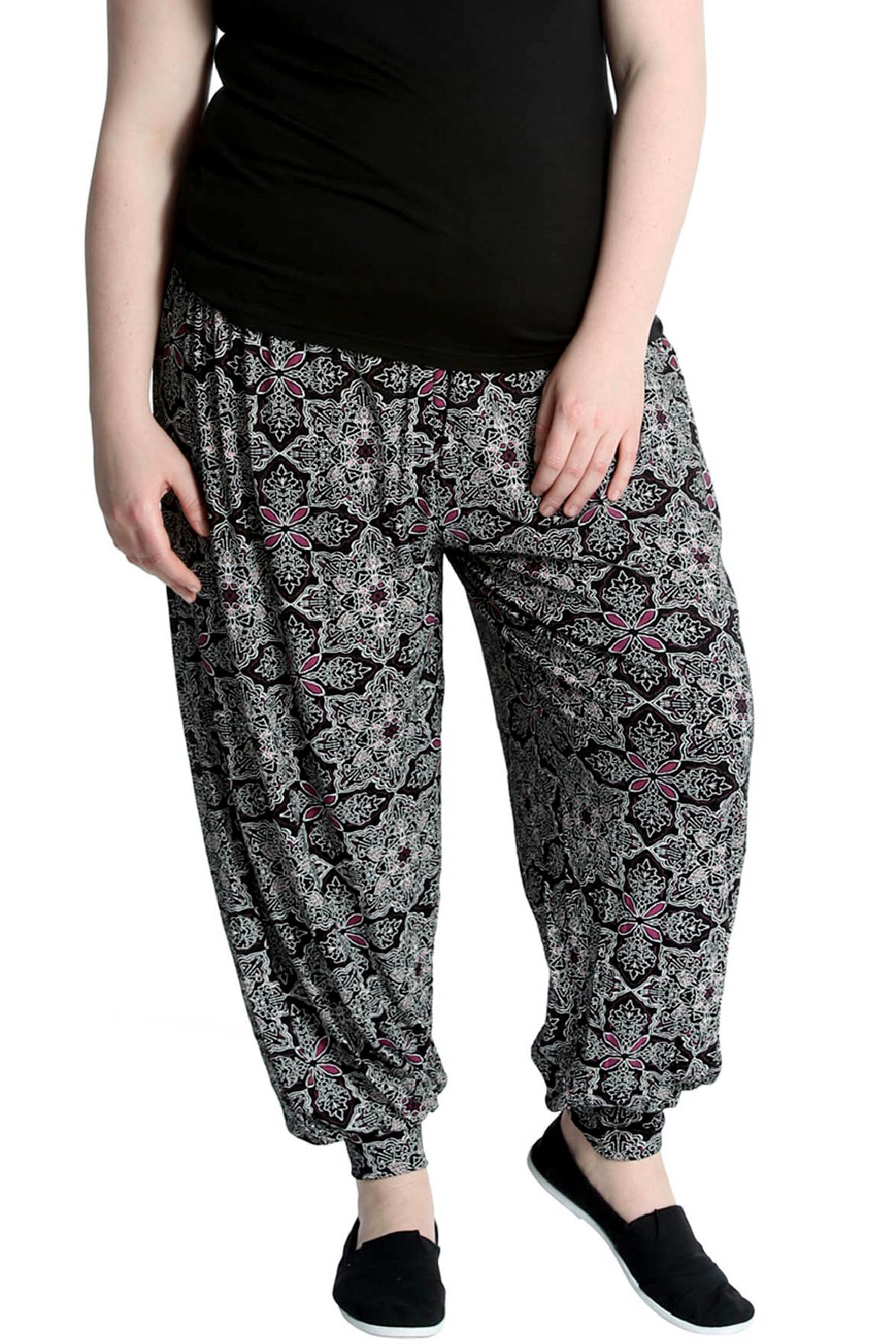 Printed Ladies Harem Girls Pants Cuffed Bottom Ali Baba Womens Trousers