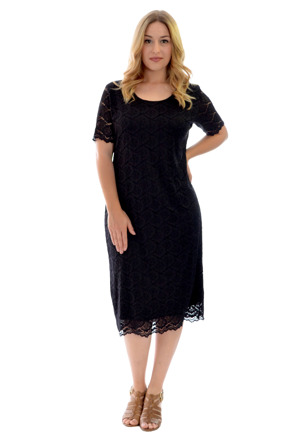 New Womens Dress Ladies Midi Tunic Floral Lace Short ...