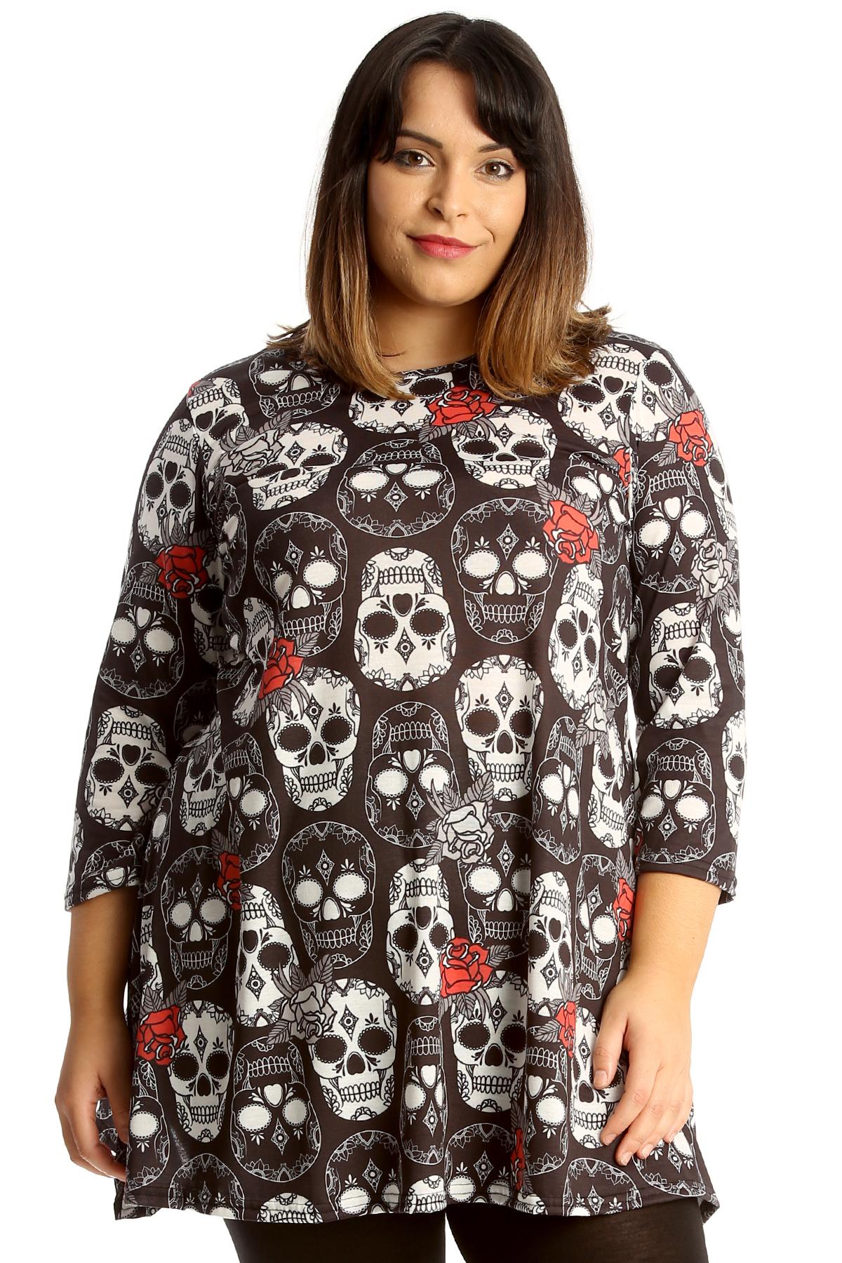 New Womens Plus Size Swing Top Ladies Skull /& Roses Print Skater Tunic Halloween