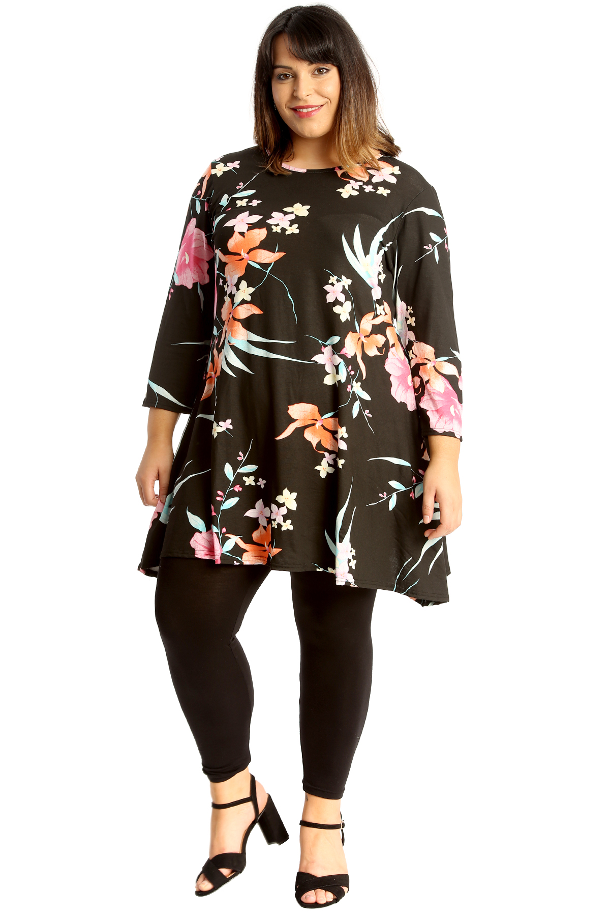 c392a4b435d833 New Womens Plus Size Swing Top Ladies Floral Print Skater Style ...