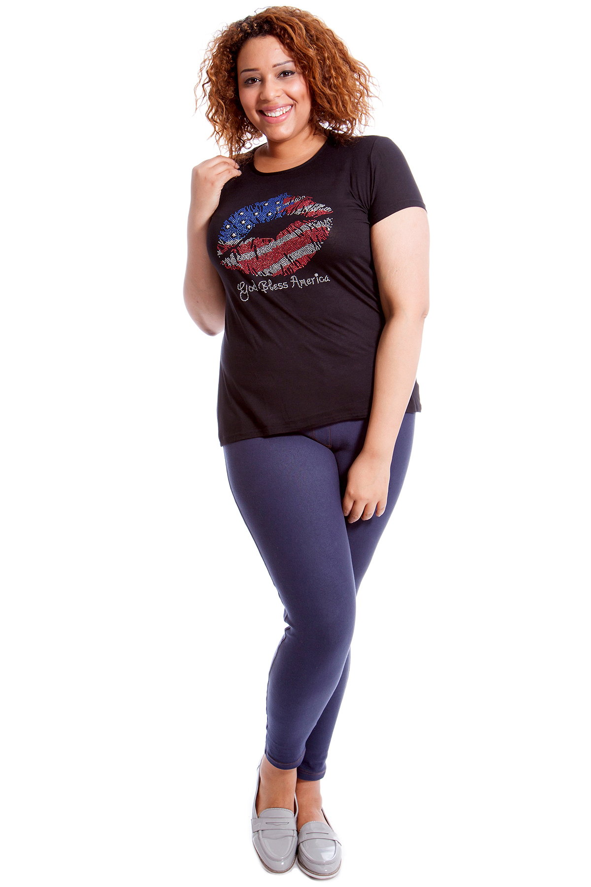 New Womens T Shirt Ladies Top Stud Sequin American Lips USA Plus Size Nouvelle