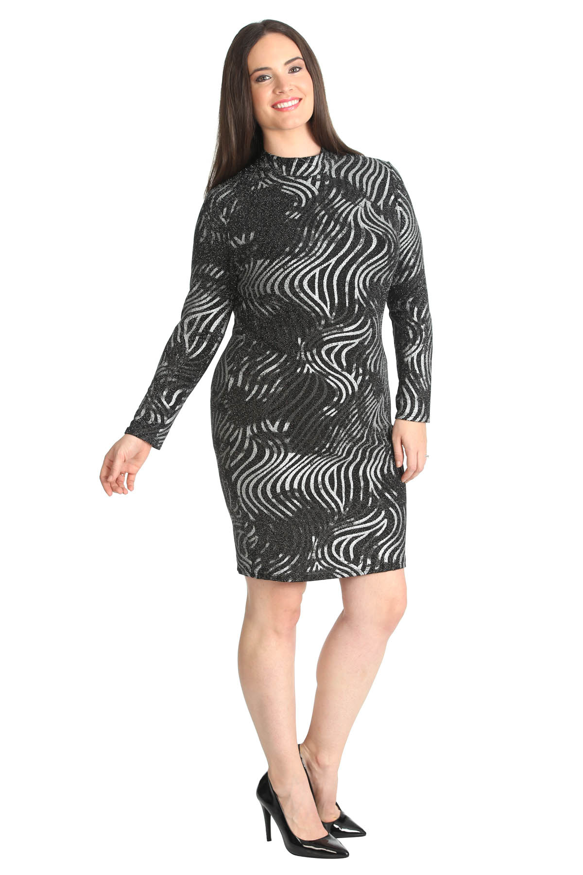 Details about New Ladies Midi Dress Plus Size Lurex Bodycon Polo Neck  Glitter Womens Nouvelle