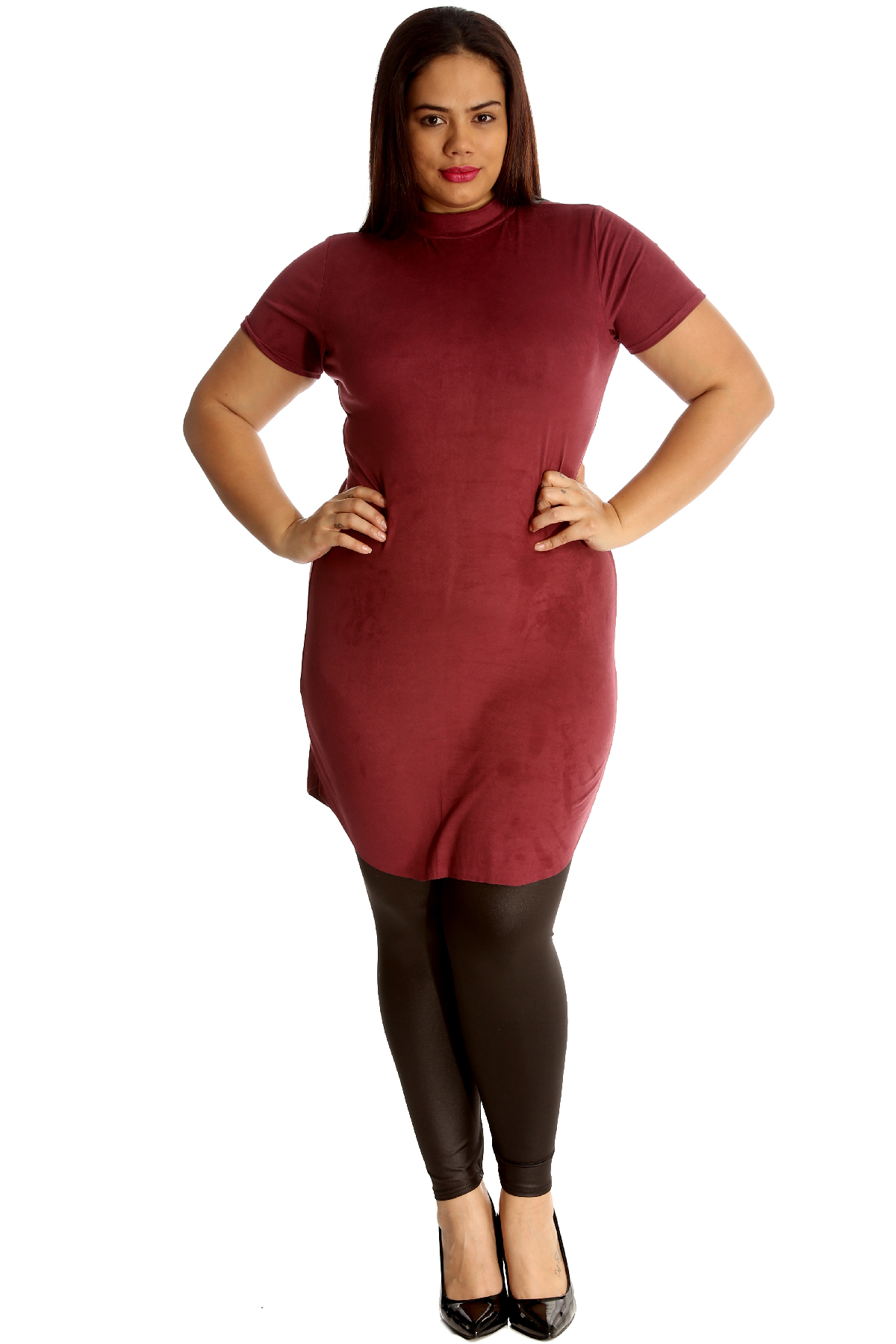 New Womens Plus Size Tunic Ladies Suede Top Turtle Polo Neck Dress ...