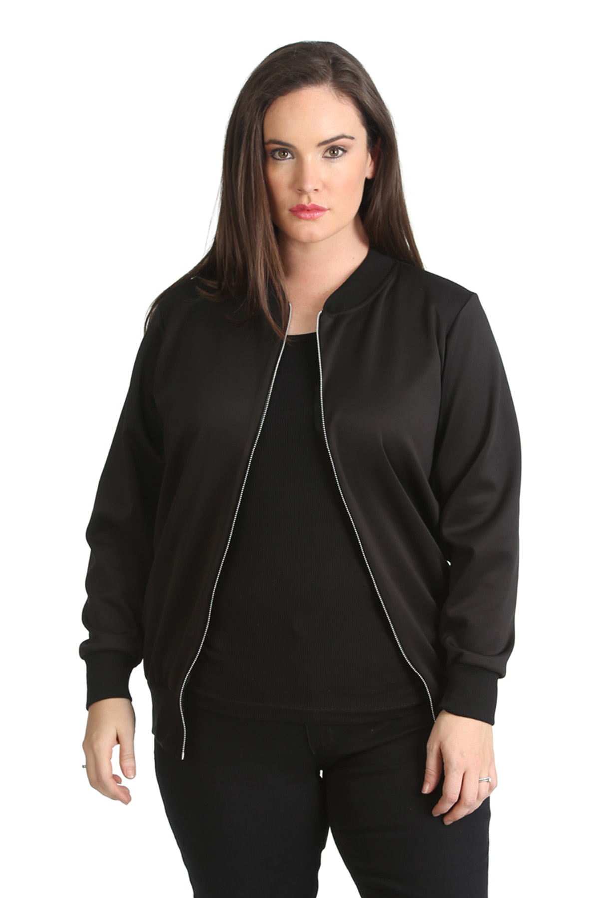 90363add28c Details about New Ladies Plus Size Bomber Jacket Womens Plain Ribbed Warm  Zip Varsity Nouvelle