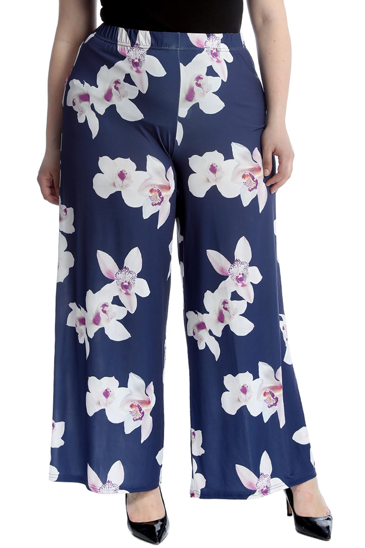 WOMEN LADIES FLORAL PRINT PALAZZO TROUSERS SUMMER WIDE LEG PANTS PLUS SIZE 8 26
