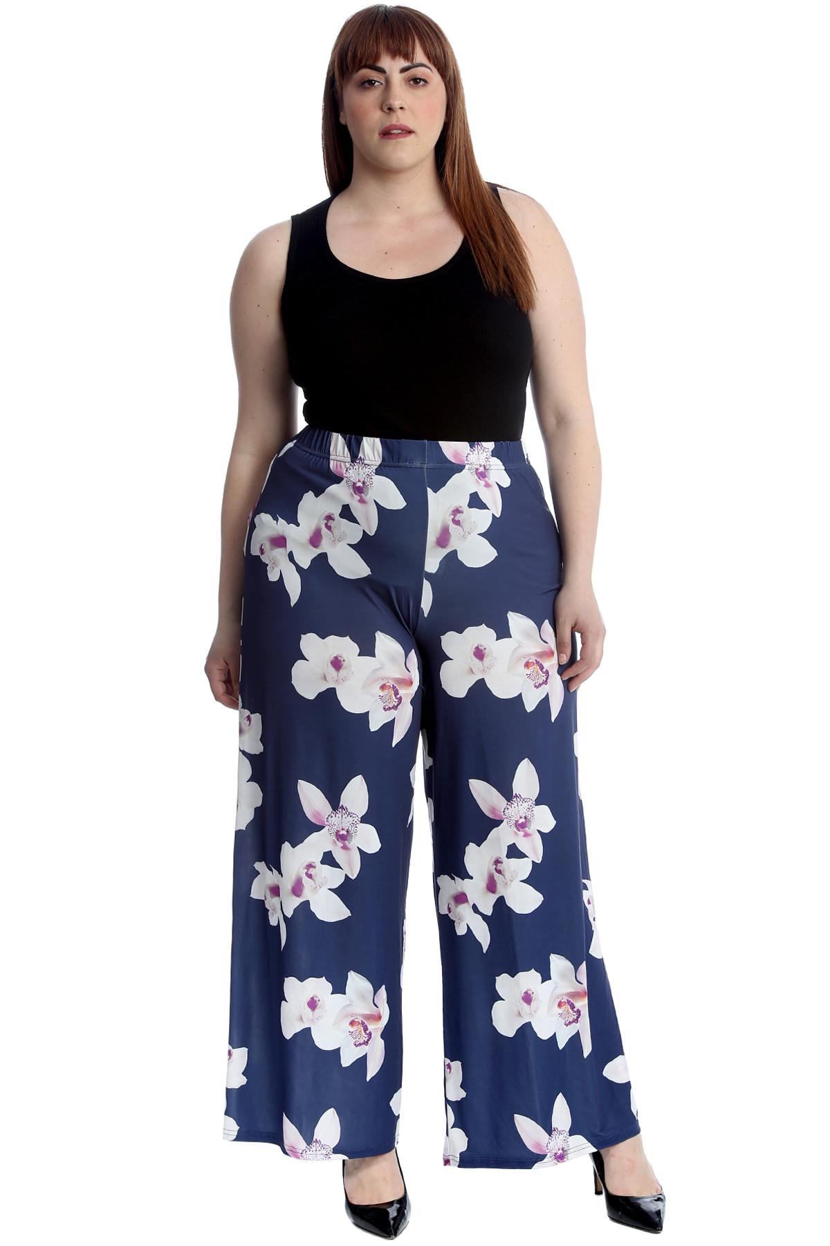 Details about New Ladies Plus Size Palazzo Trousers Women Pants Wide Leg  Floral Print Flared