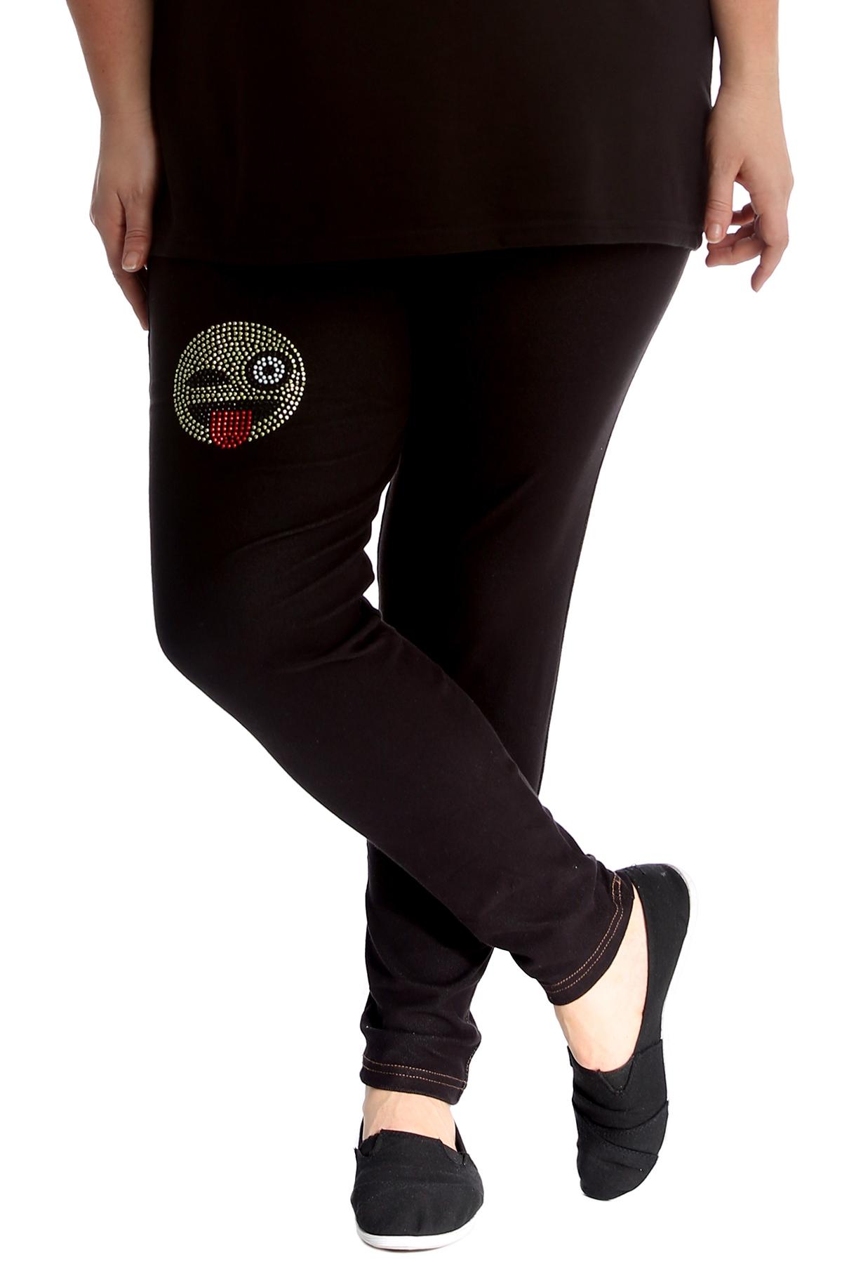 bb3b93c0966d01 Details about New Womens Plus Size Leggings Ladies Emoji Tongue Stud  Jeggings Bottoms Pants