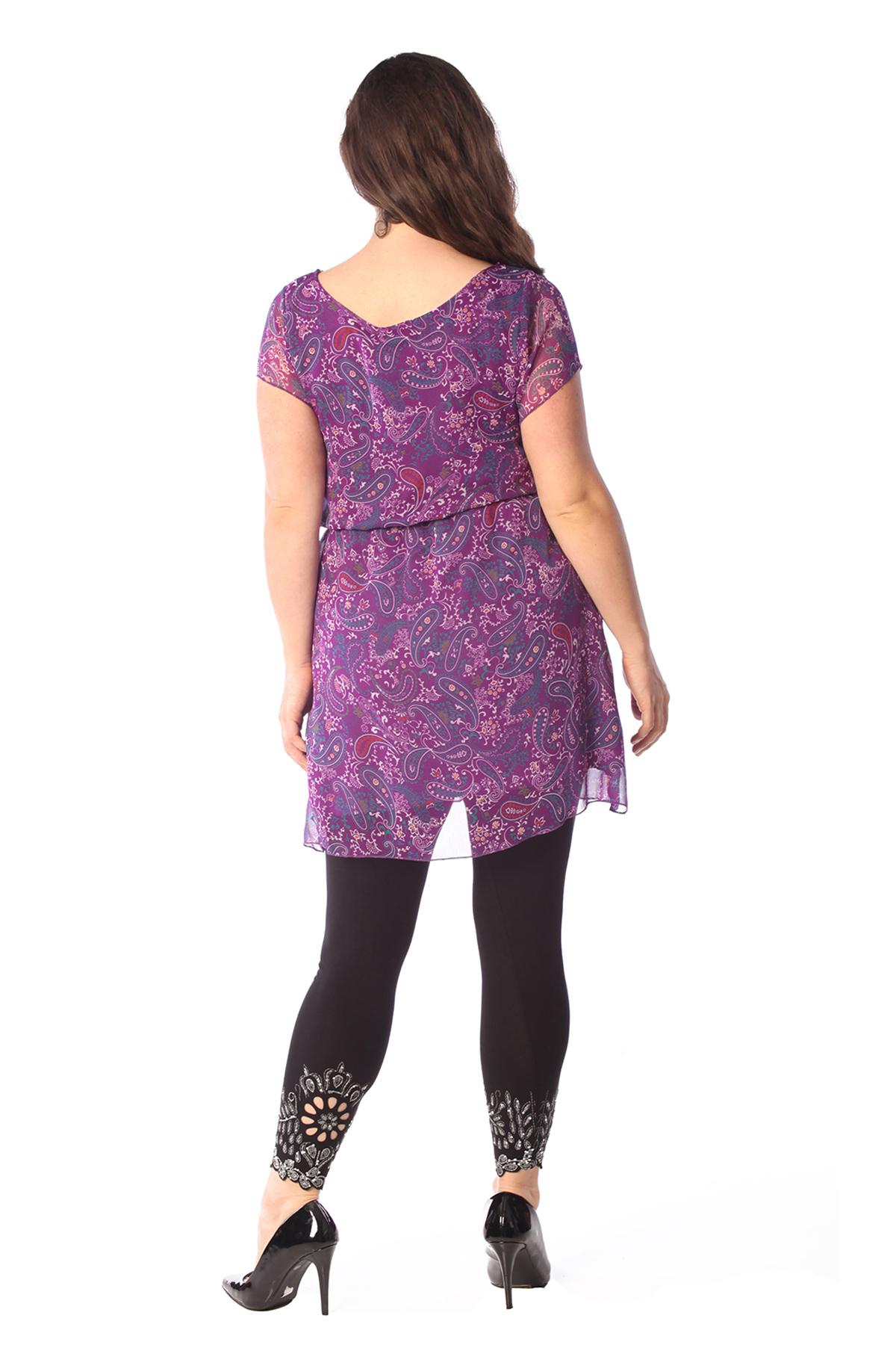 Womens Top Ladies Plus Size Paisley Print Chiffon Mini Dress Elastic Nouvelle