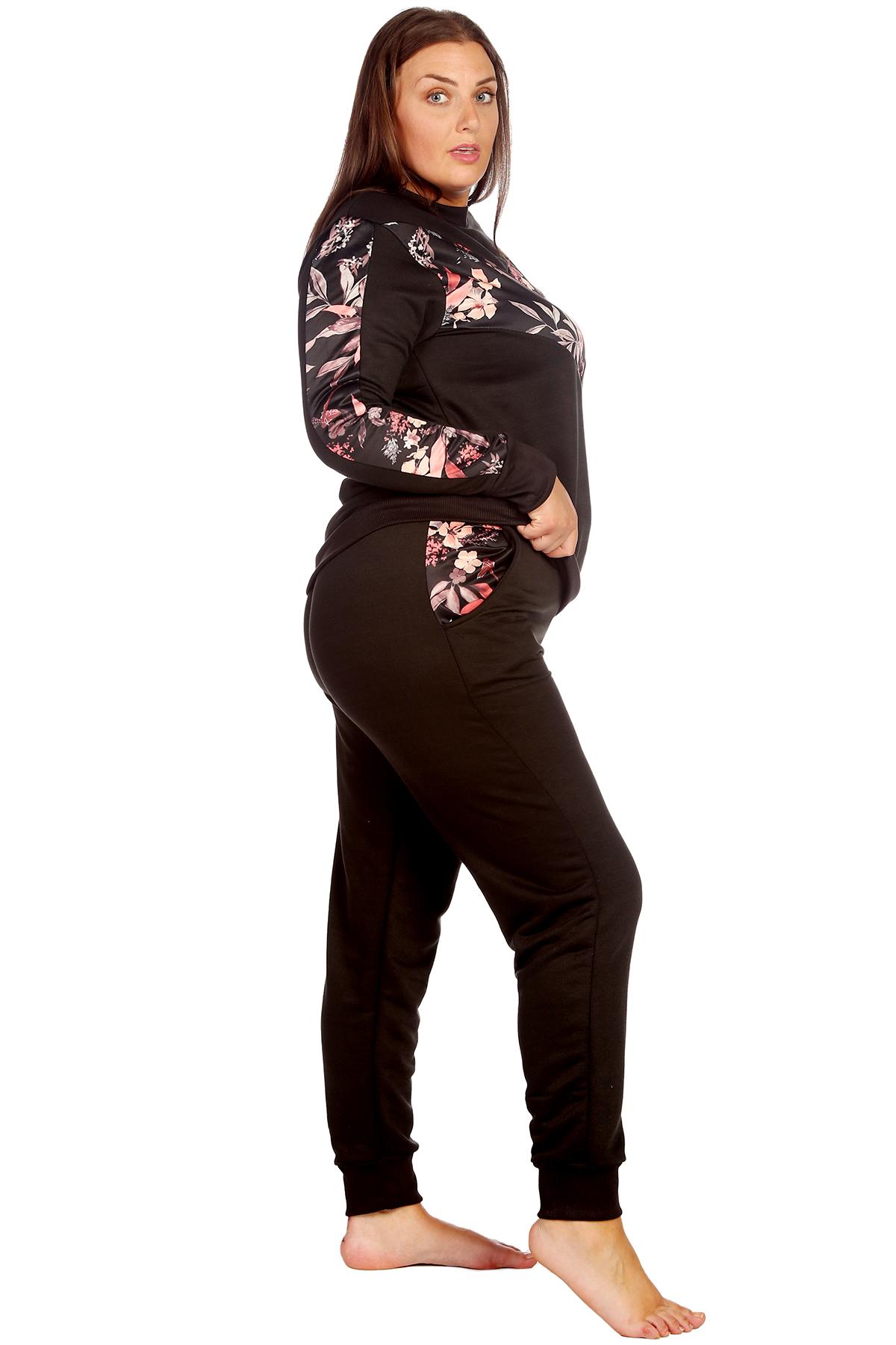 Neue Damen Übergröße Trainingsanzug Frauen Blumen Druck Vorne Knöpfe Nouvelle