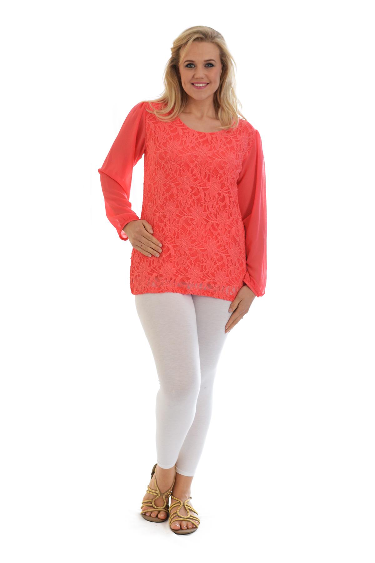 Womens-New-Lace-Top-Plus-Size-Ladies-Chiffon-Party-Arm-Floral-Tunic-Nouvelle