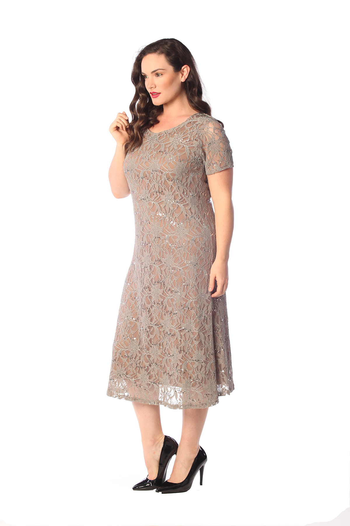 Ladies Dress Womens Plus Size Flapper Sequin Lace Floral ...