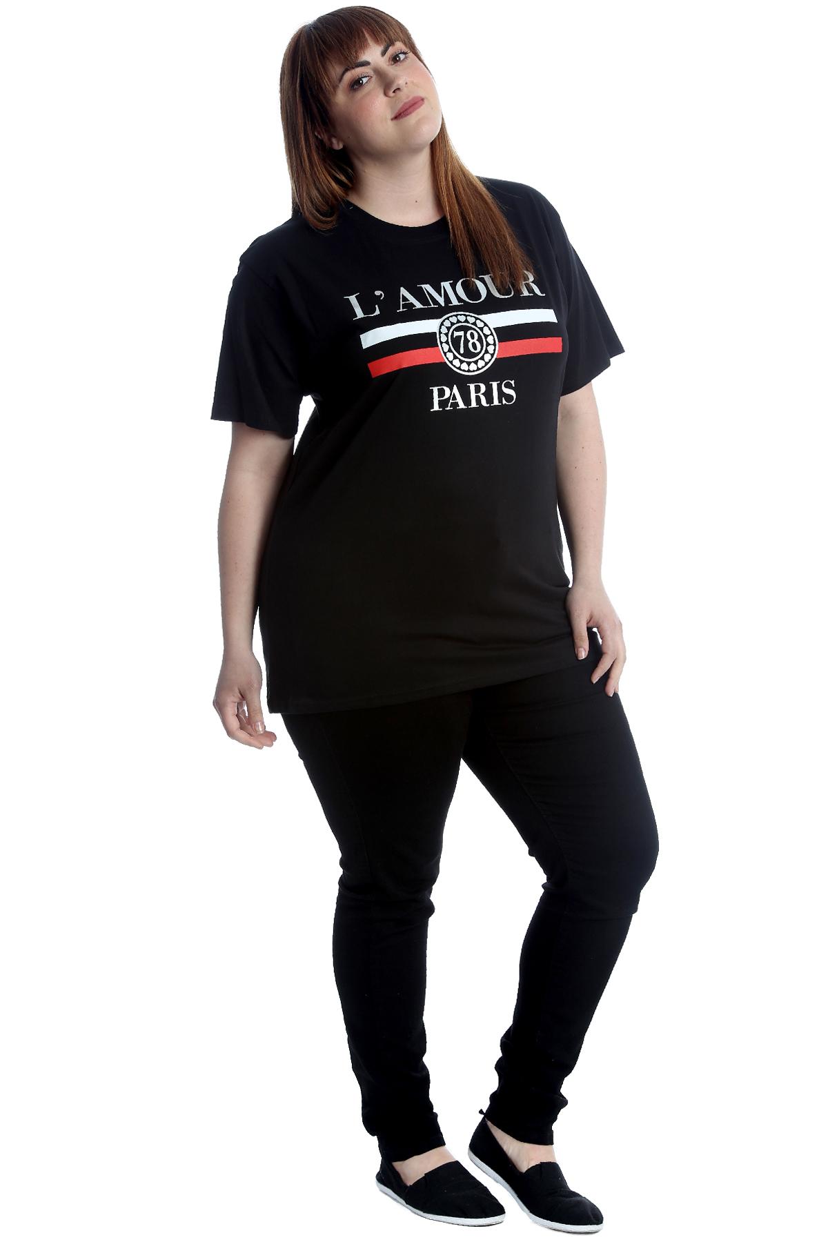5f7ba46d New Womens T-Shirt Plus Size Top Ladies Cotton L'Amour Paris Print ...