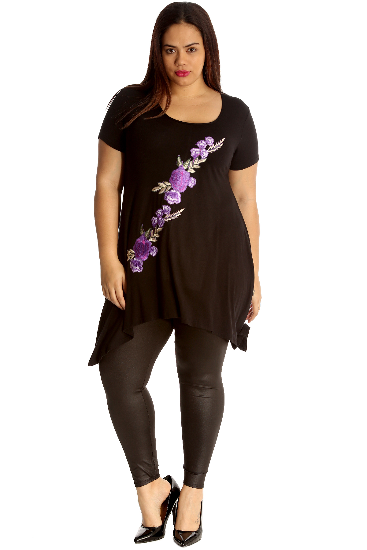 New Womens Plus Size Top Ladies Embroidered Floral Patch A-Line T-Shirt Sale
