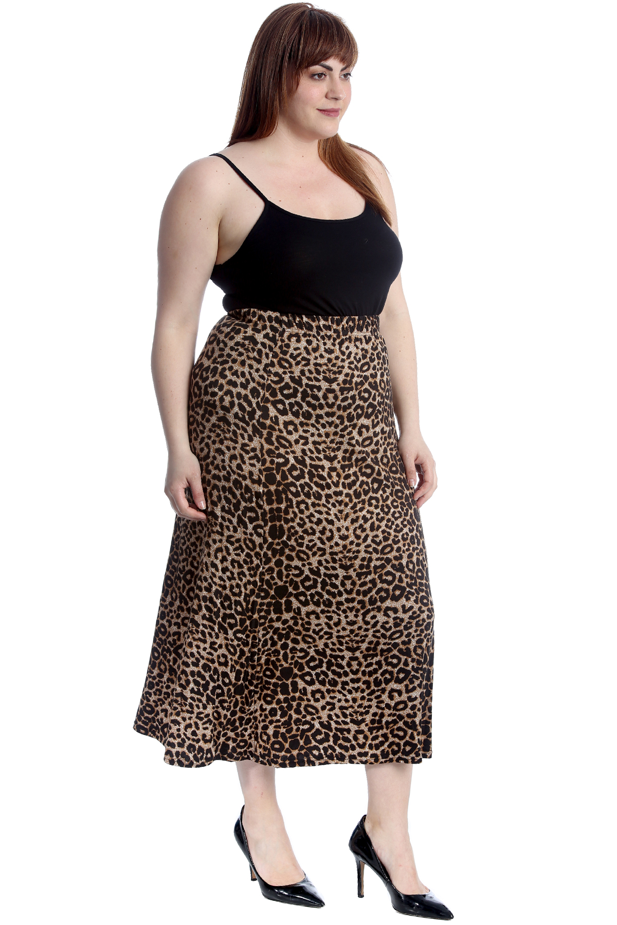 8c2e16120 New Womens Plus Size Skirt Ladies Animal Leopard Print Elastic Waist ...