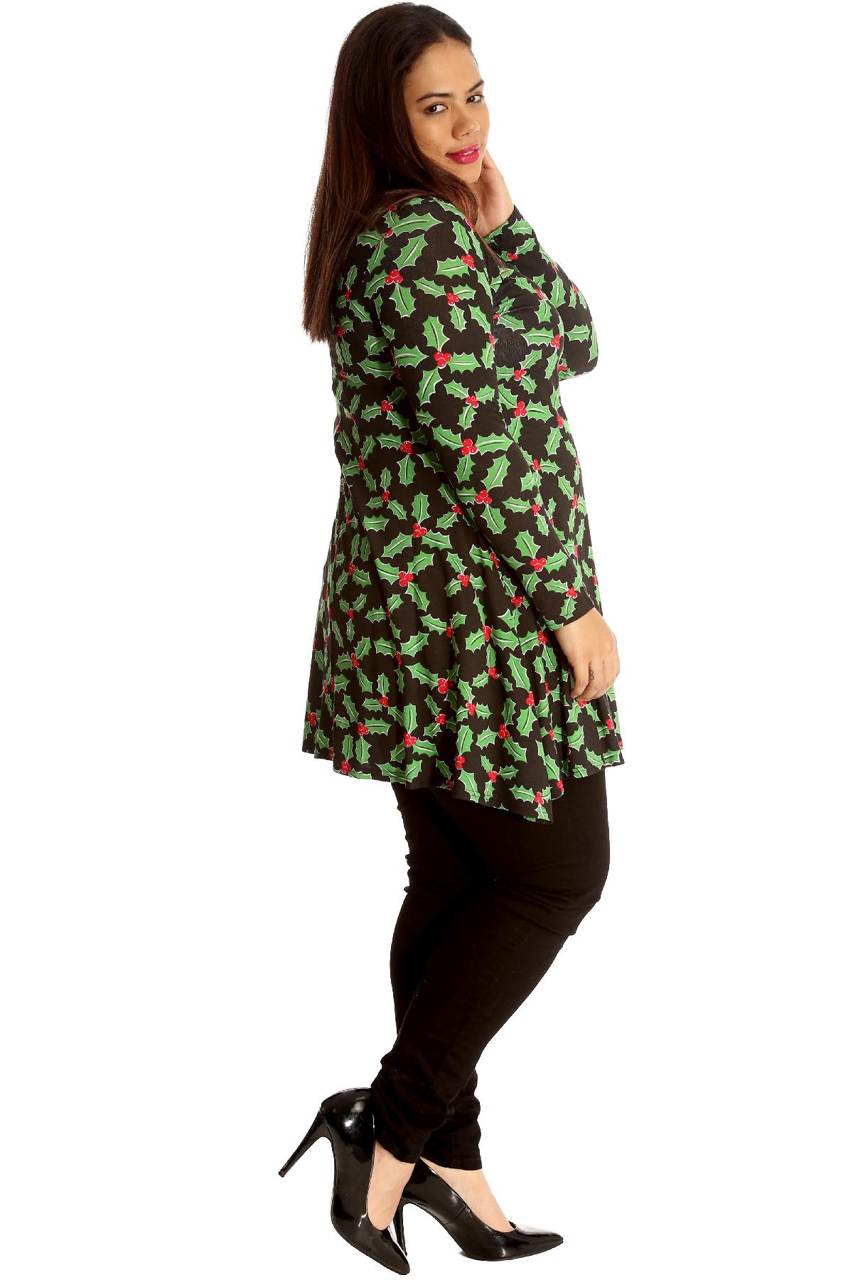 838d5d7da05 New Ladies Plus Size Top Womens Mistletoe Swing Dress Christmas ...