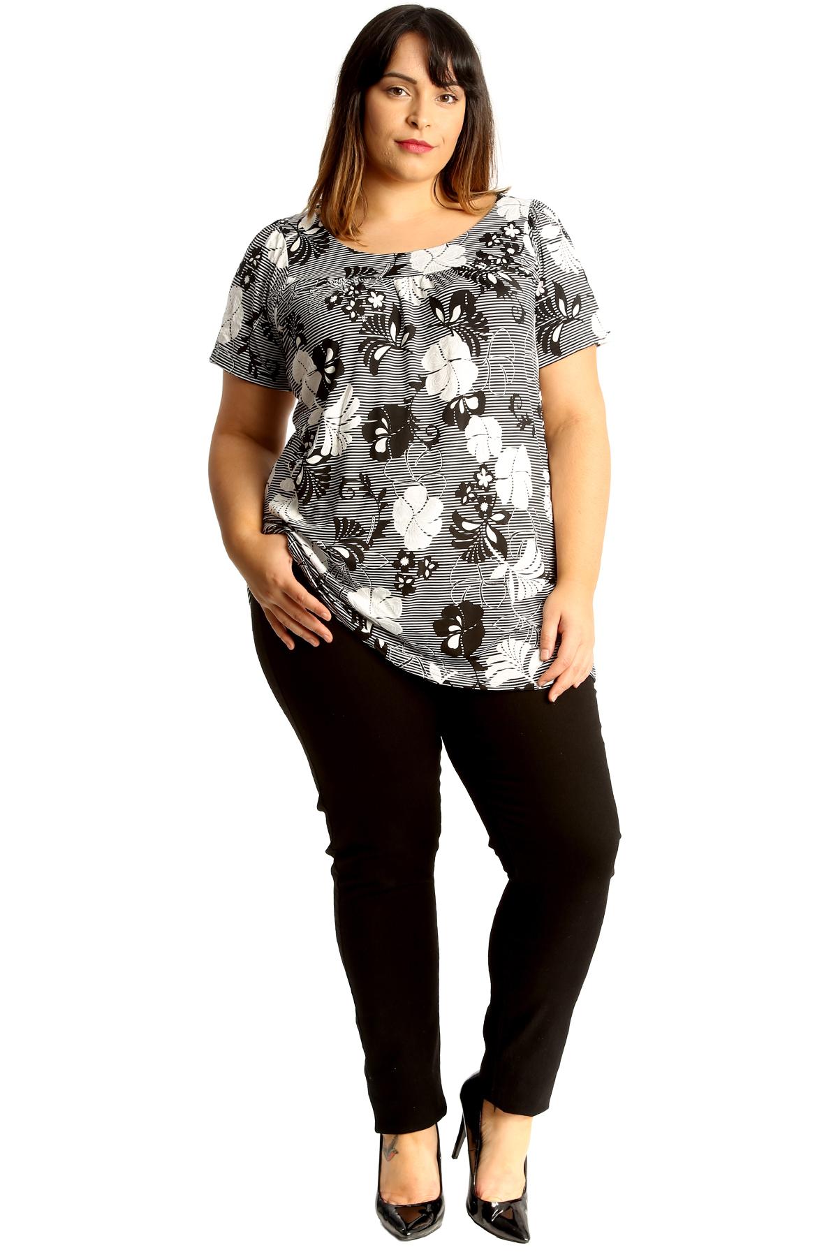 New Womens Plus Size Smock Top Ladies Monochrome Floral Print Tunic Blouse Round