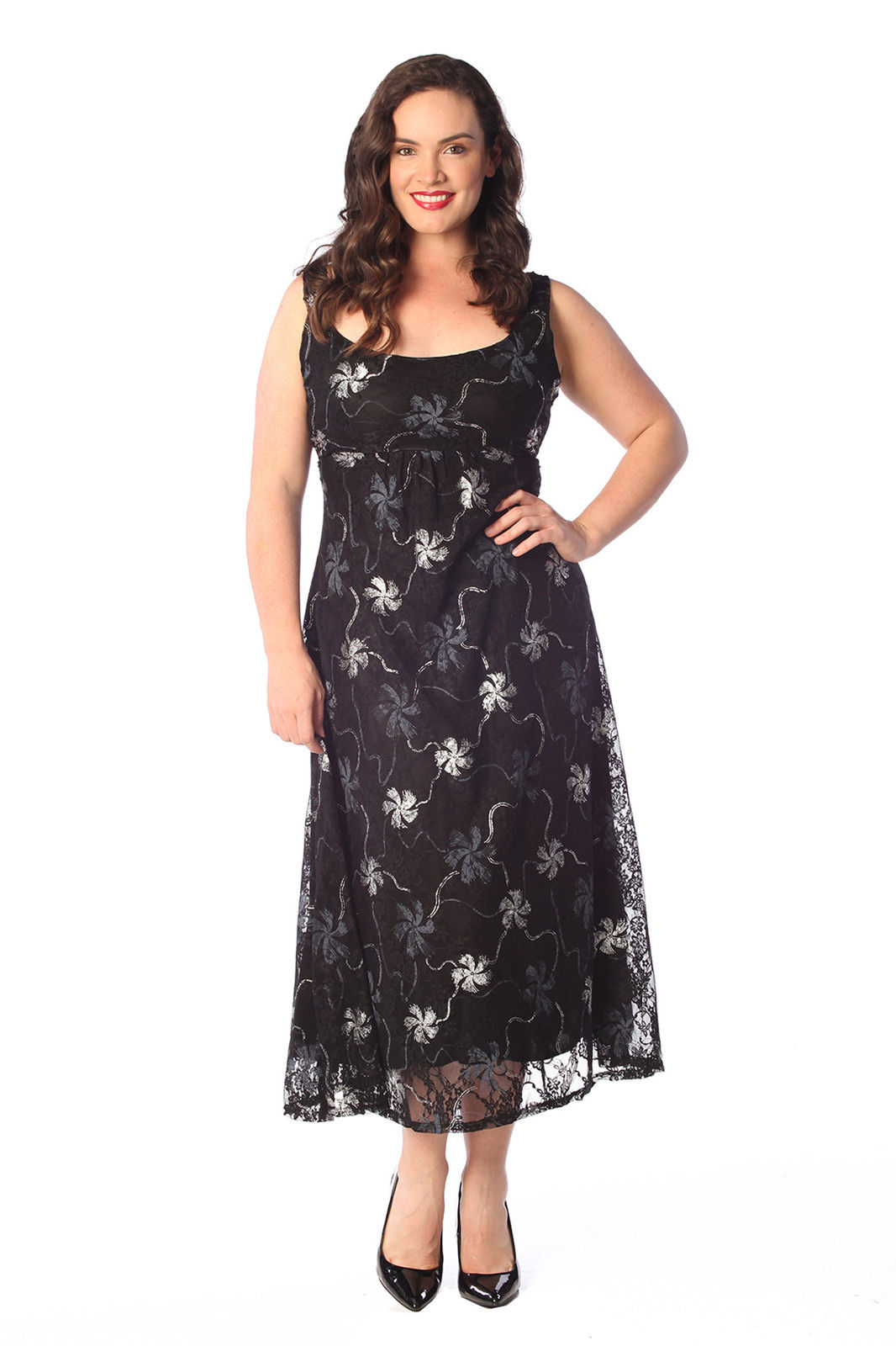 New Womens Plus Size Maxi Dress Ladies Floral Gold Silver ...