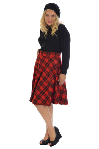 535b629b4 Ladies Tartan Skater Skirt Scottish Check Midi Skirt Nouvelle Womens Plus  Size
