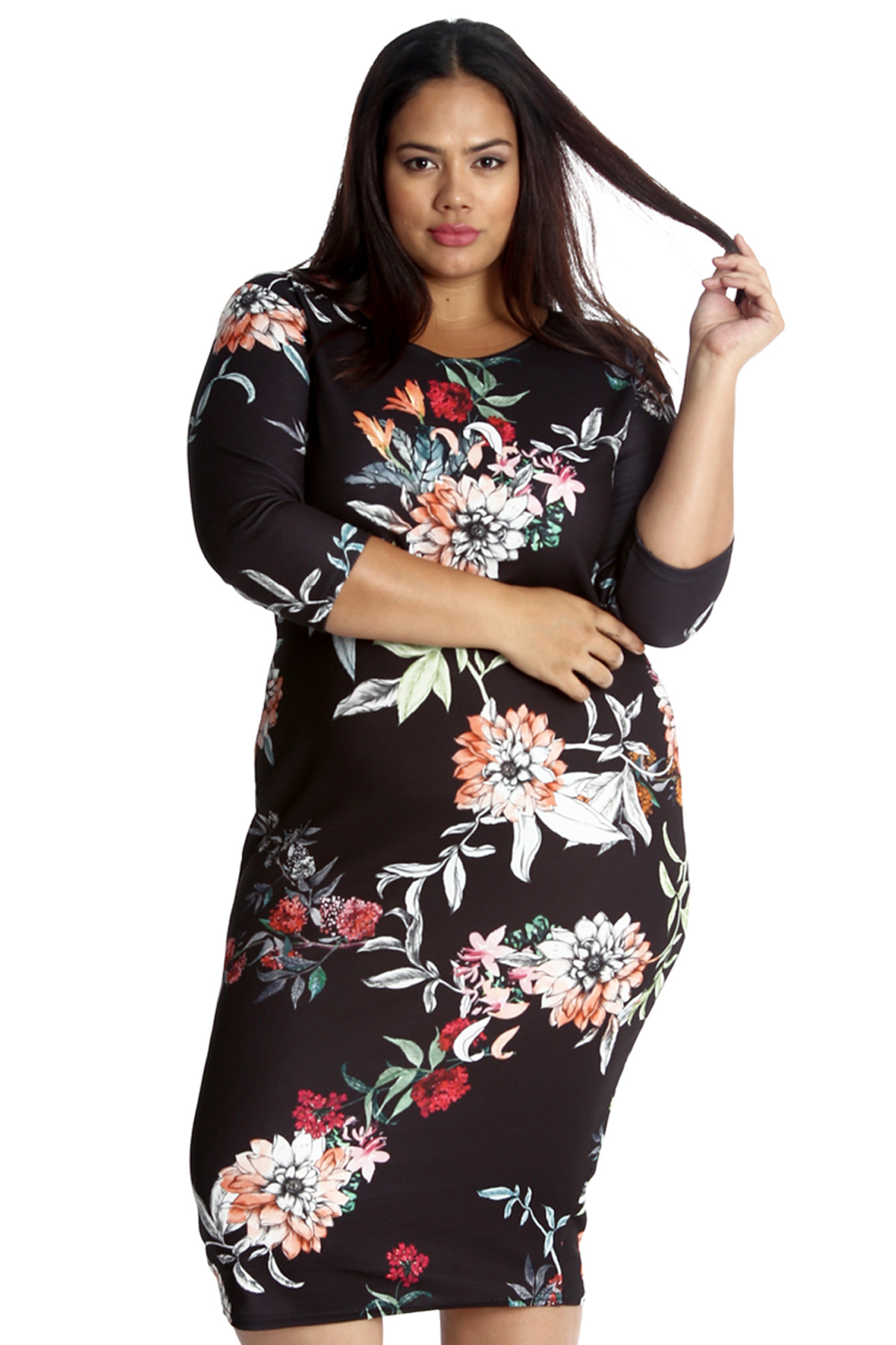 e0537e11acc Details about New Ladies Dress Plus Size Womens Floral Bodycon Knee Length  Midi Style Nouvelle