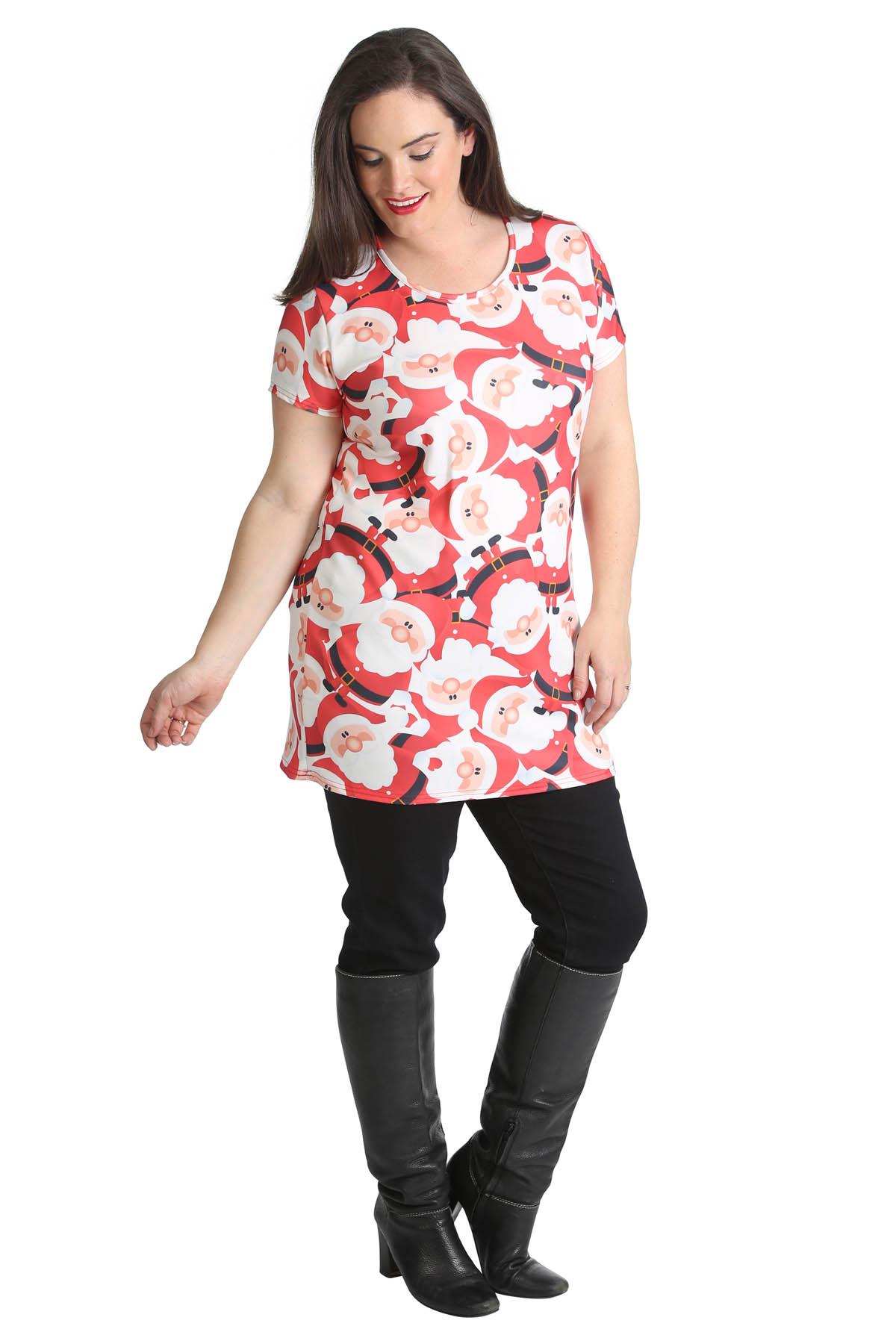 New womens top ladies plus size christmas santa print t for Plus size womens shirts