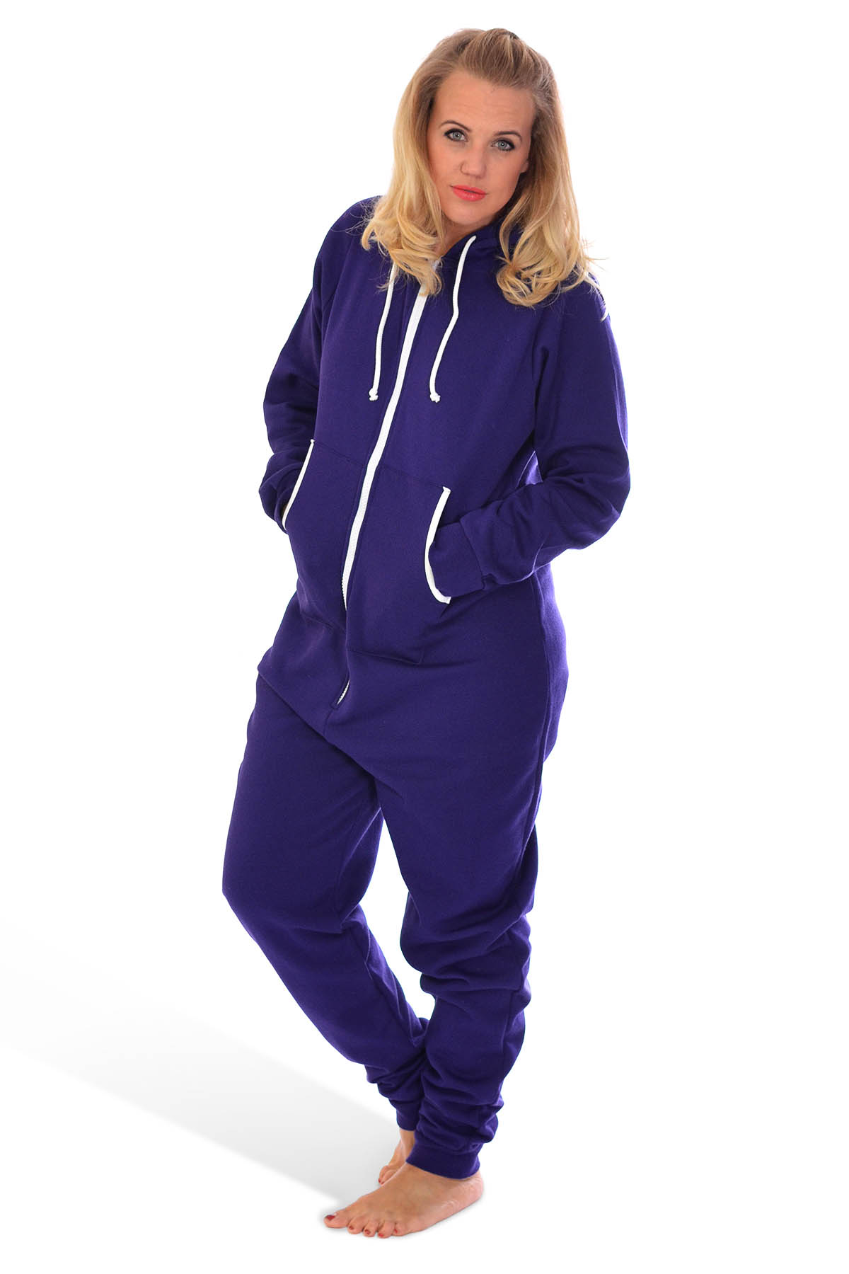 New Ladies Mens Plus Size All in One Body Warm Jumpsuit Fleece Hooded Nouvelle