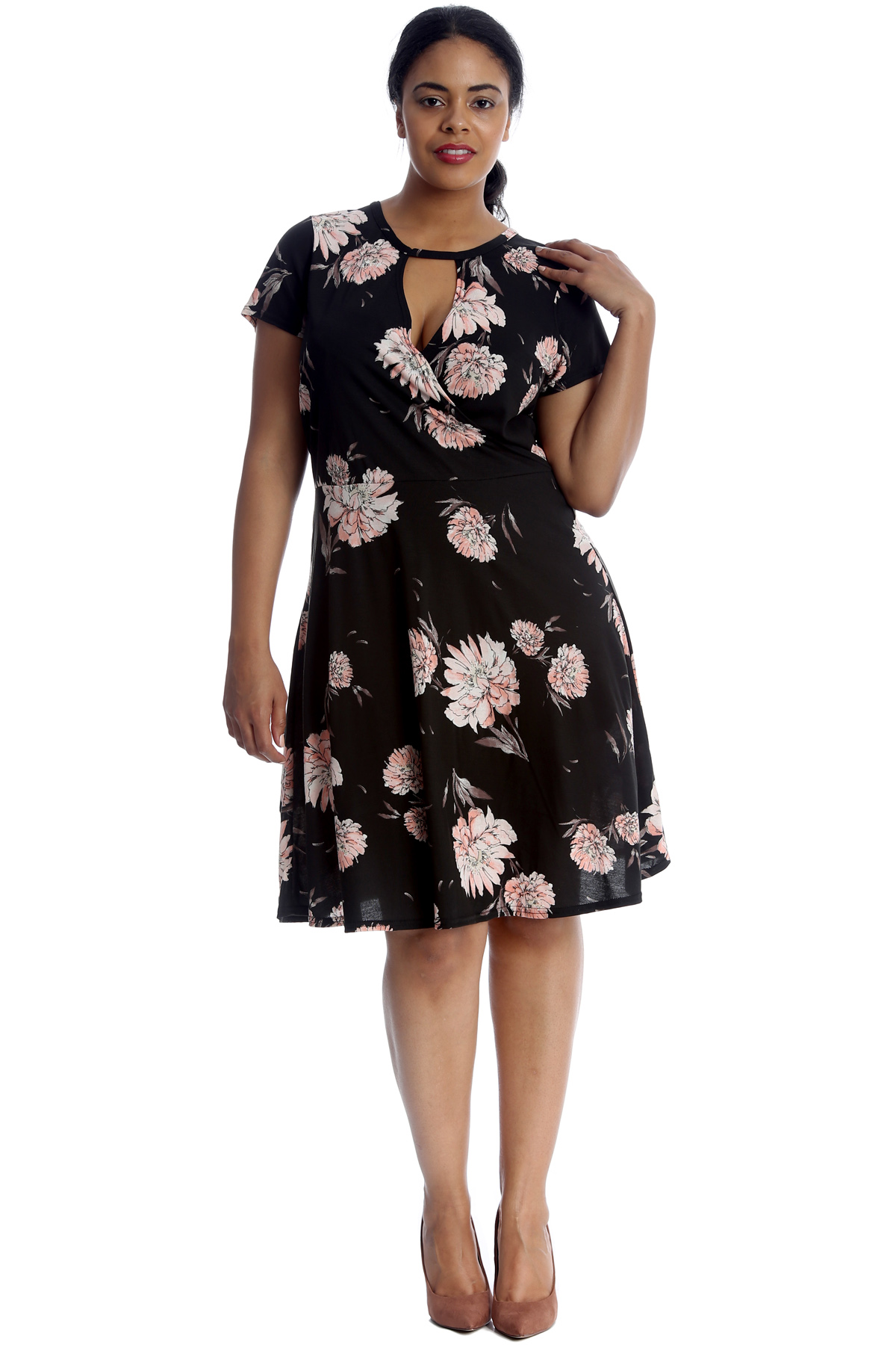 Details about New Women Dress Plus Size Ladies Floral Print Crossover  Skater Knee Long Fashion