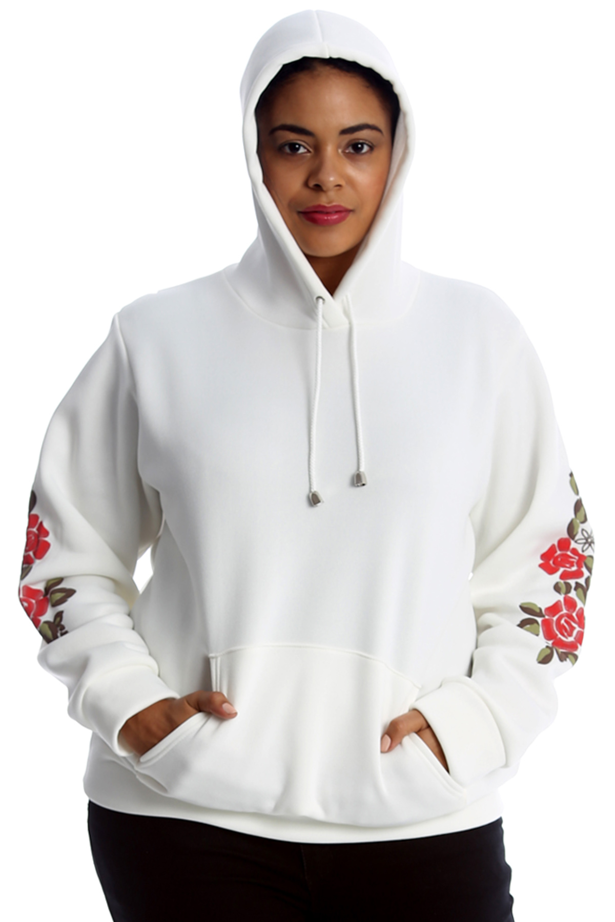 New Ladies Plus Size Hoodie Womens Floral Patch Embroidery ...