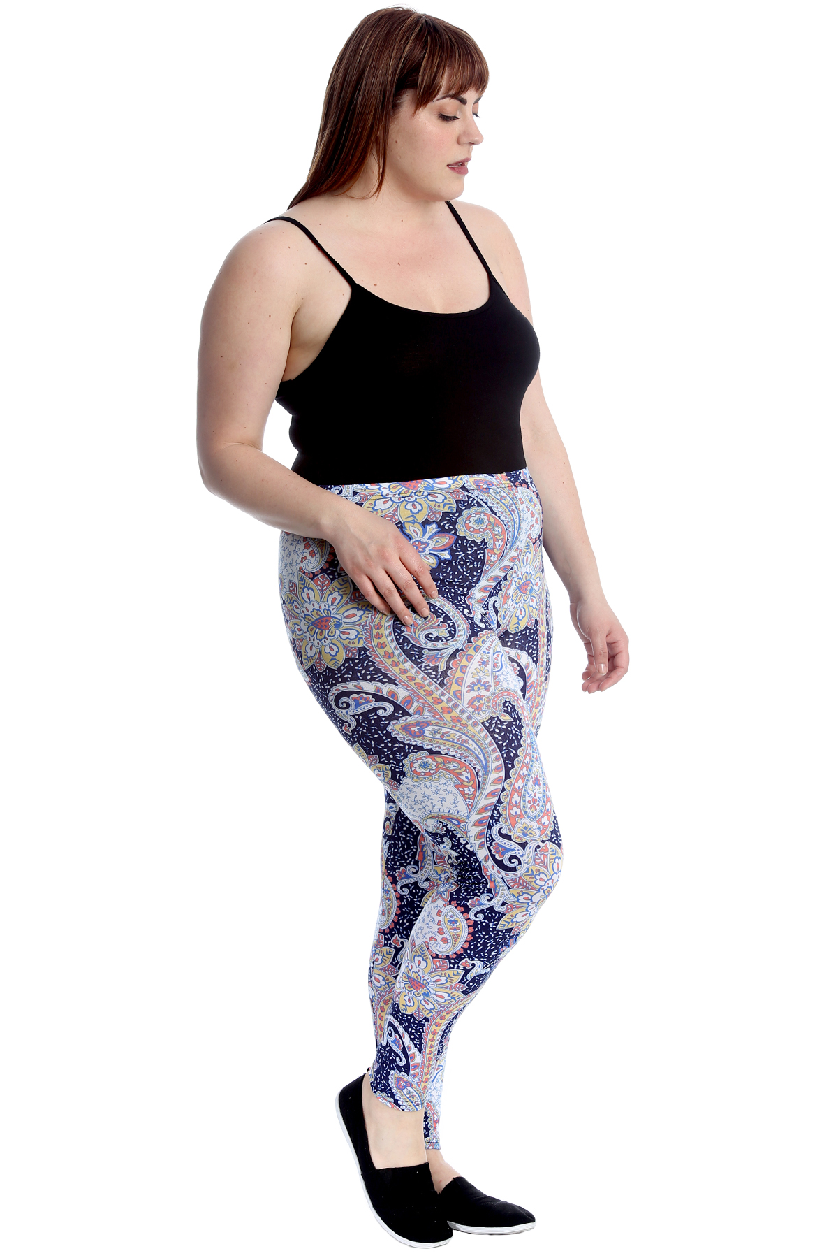 New Womens Plus Size Trousers Ladies Leggings Paisley Print Elasticated Nouvelle
