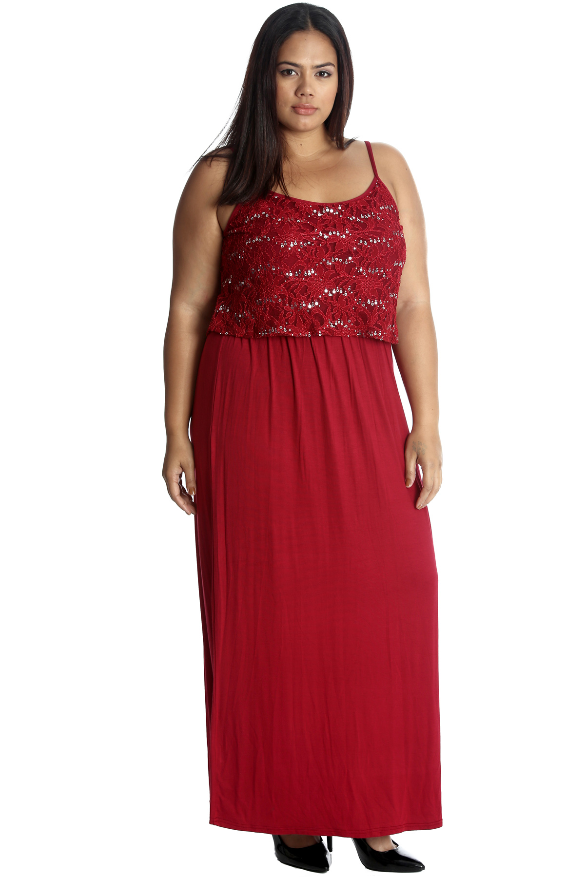 Details about New Womens Plus Size Maxi Dress Ladies Floral Lace Sequin  Tank Top Sleeveless