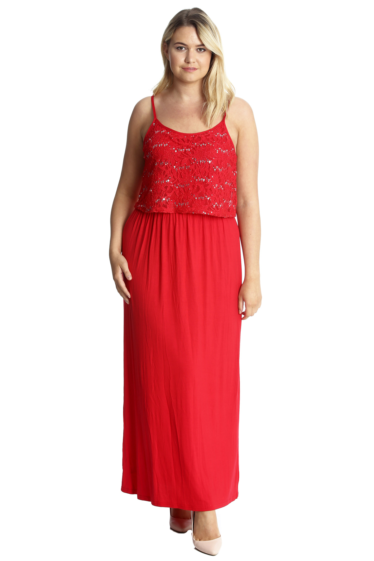 Details about New Womens Plus Size Maxi Dress Ladies Sequin Floral Lace  Tank Top Sleeveless