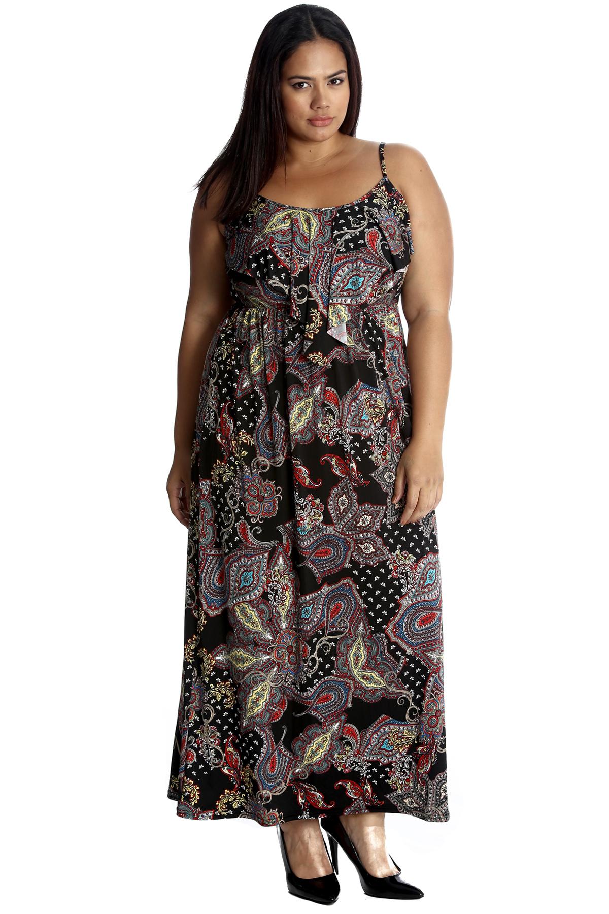 75ce018b63deb3 New Womens Plus Size Dress Maxi Ladies Paisley Floral Print Frill ...