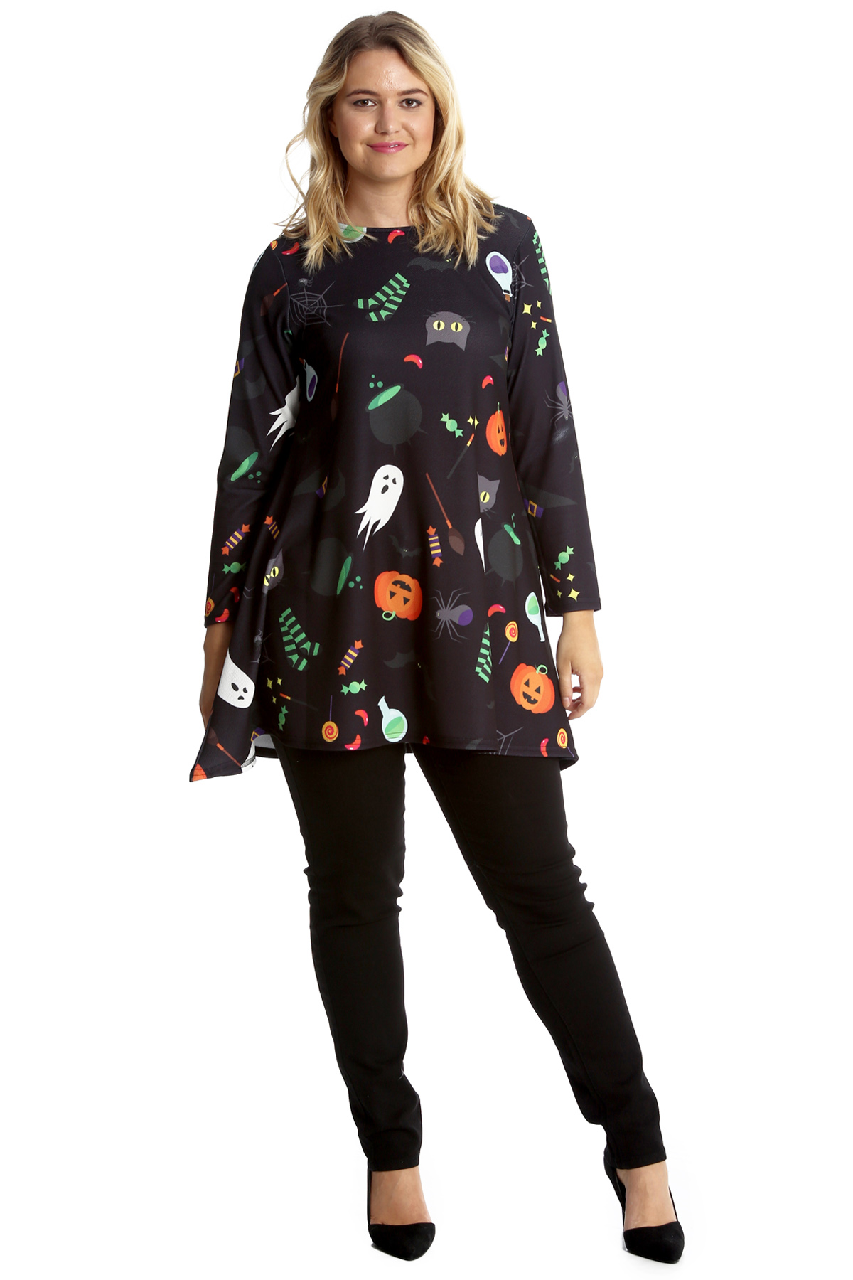New-Womens-Plus-Size-Swing-Top-Ladies-Broom-Ghost-Pumpkin-Halloween-Nouvelle