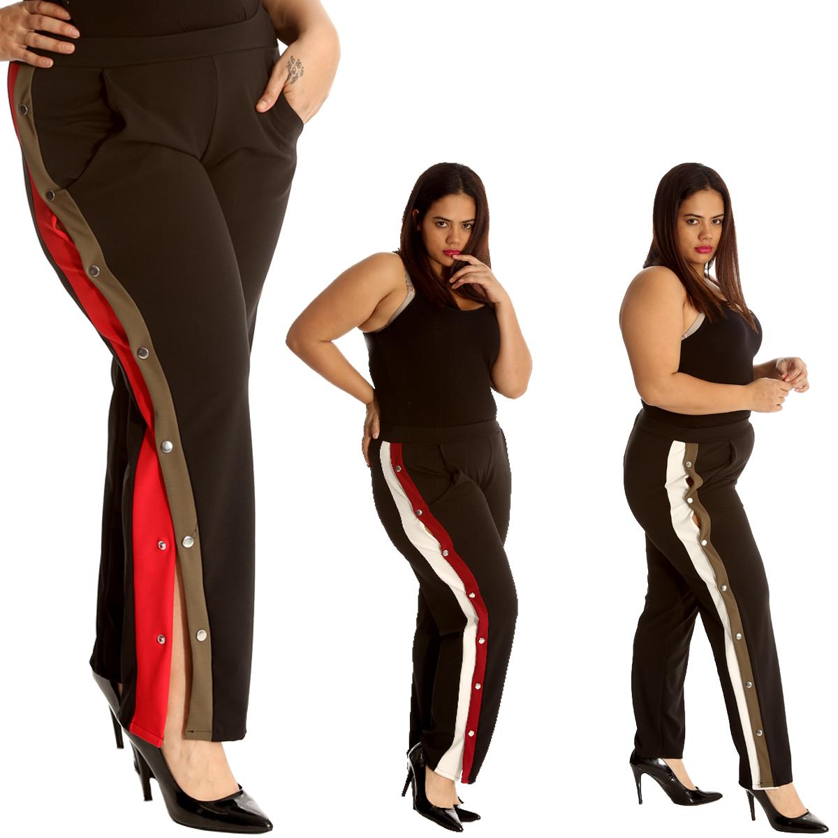 5d58e3e84bd Details about New Ladies Trousers Plus Size Womens Bottoms Popper Button  Side Slit Stripe Sale