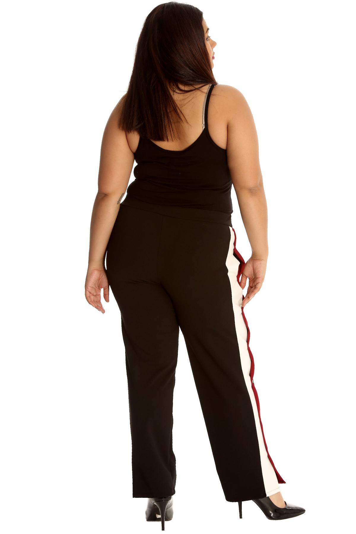 12bb88a4b99 New Ladies Trousers Plus Size Womens Bottoms Popper Button Stripe ...
