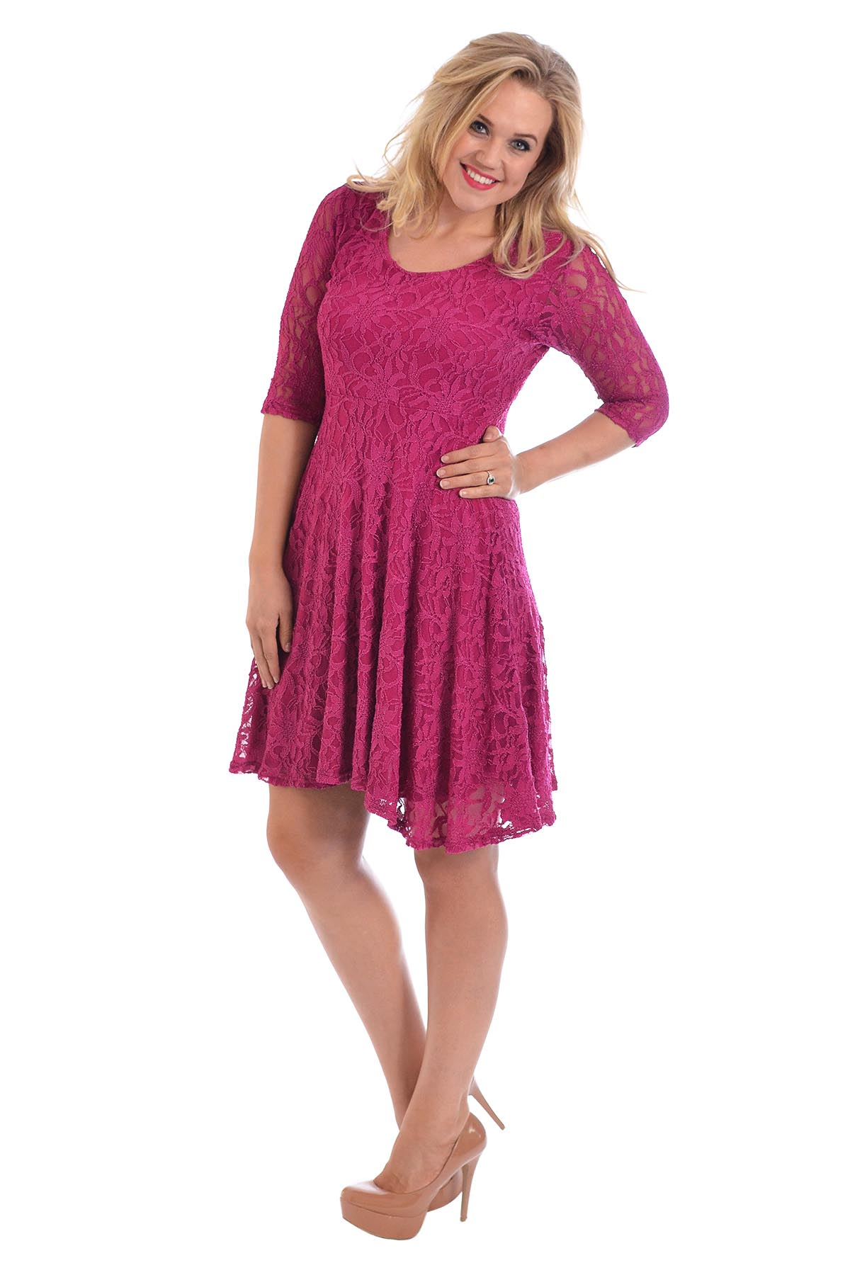 Womens Dress Plus Size Ladies Floral Lace Lined Mid Skater Summer ...