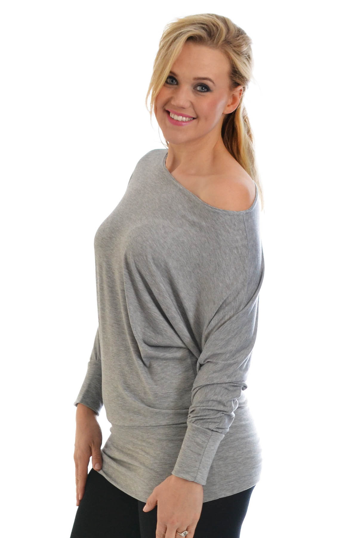 979d2e234f7b40 New Ladies Top Womens Batwing Slouch Boat Neck Off Shoulder Plus ...
